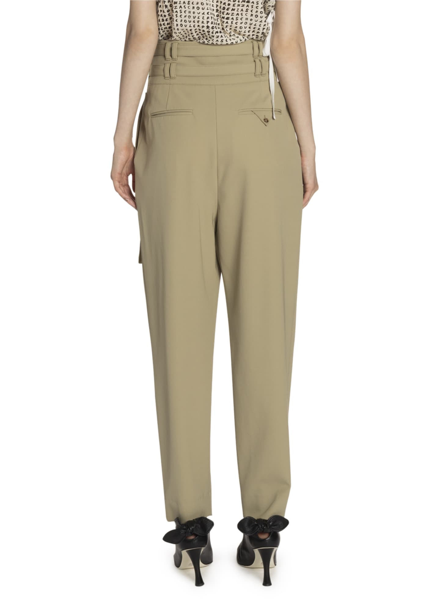 Image 2 of 2: Belted Wool High-Waist Pants