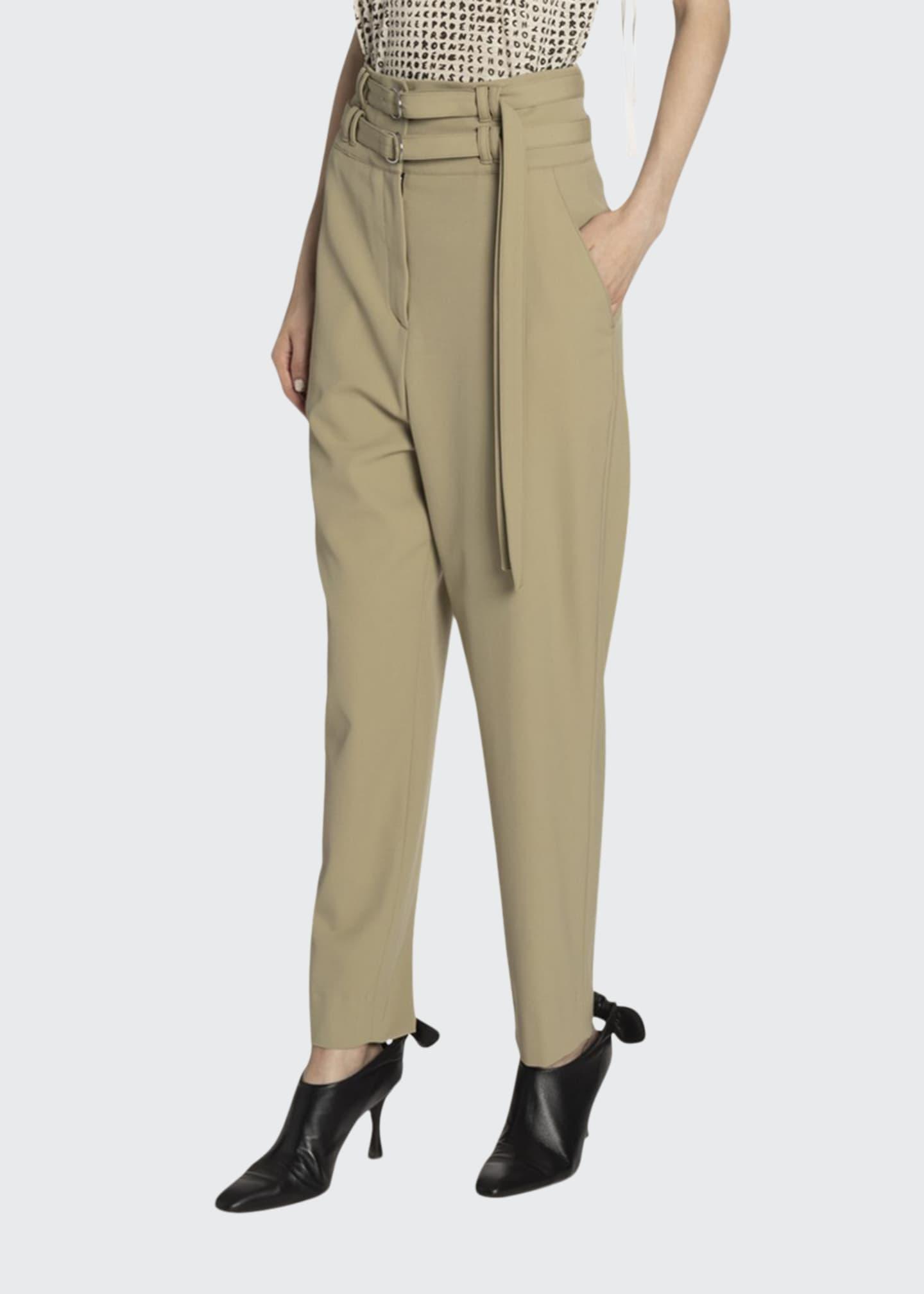 Proenza Schouler Belted Wool High-Waist Pants