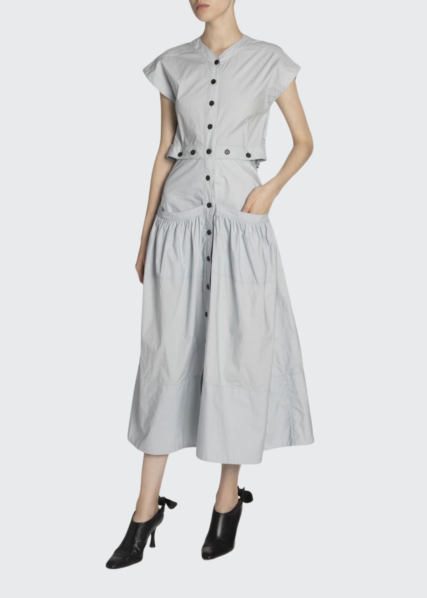 Proenza Schouler Poplin Button-Front Flared Dress