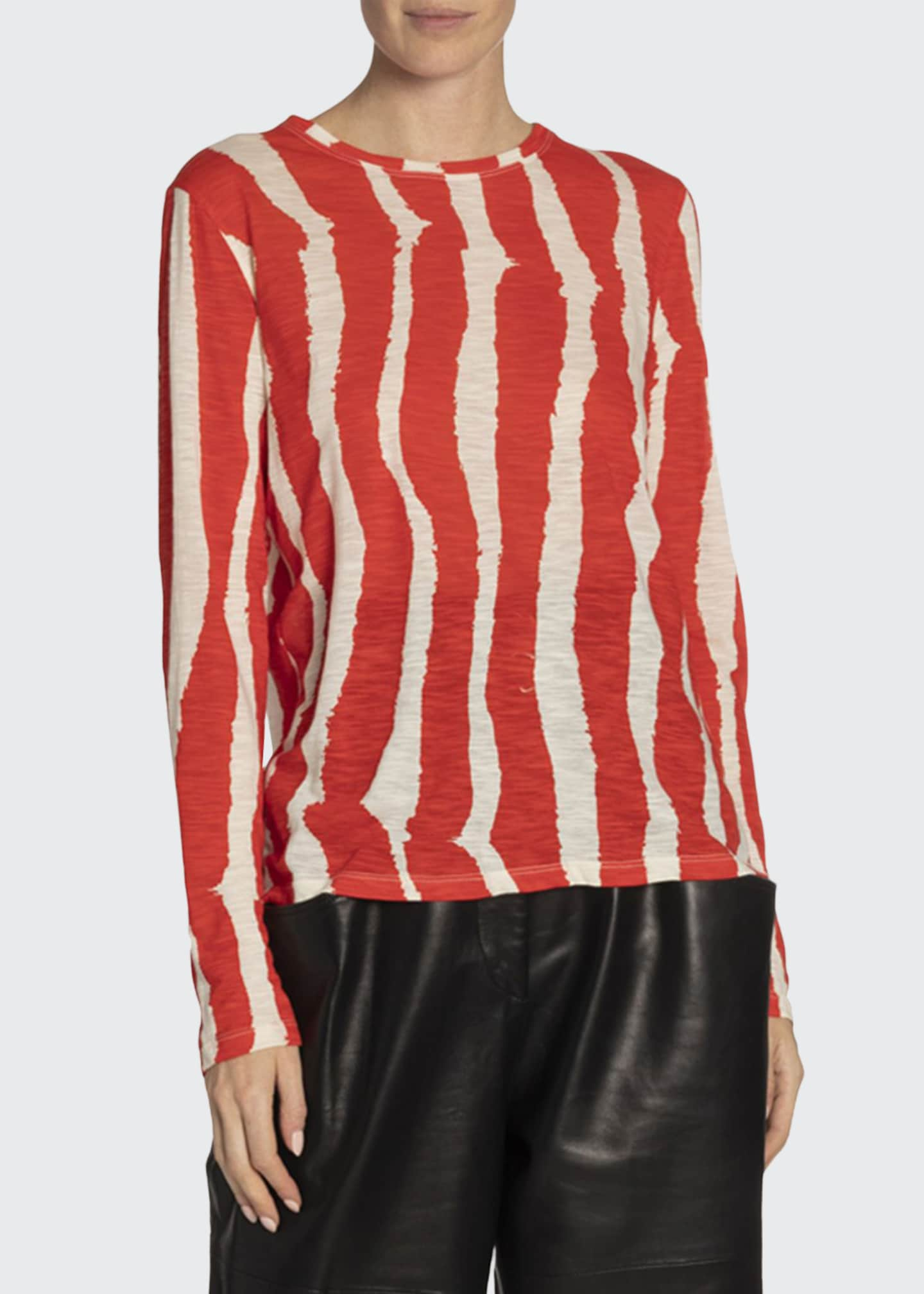Proenza Schouler Zebra Striped Long-Sleeve Tee