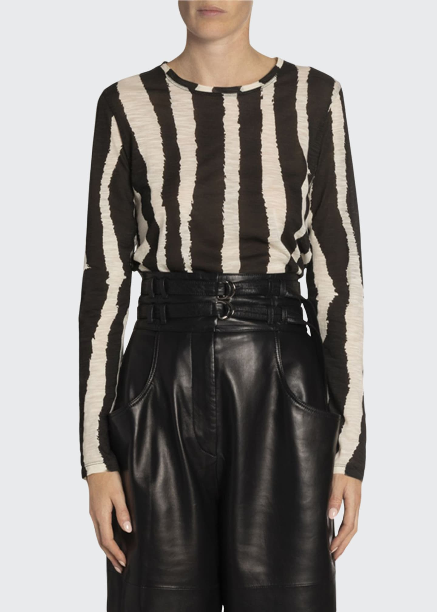 Proenza Schouler Zebra-Striped Long-Sleeve Tee