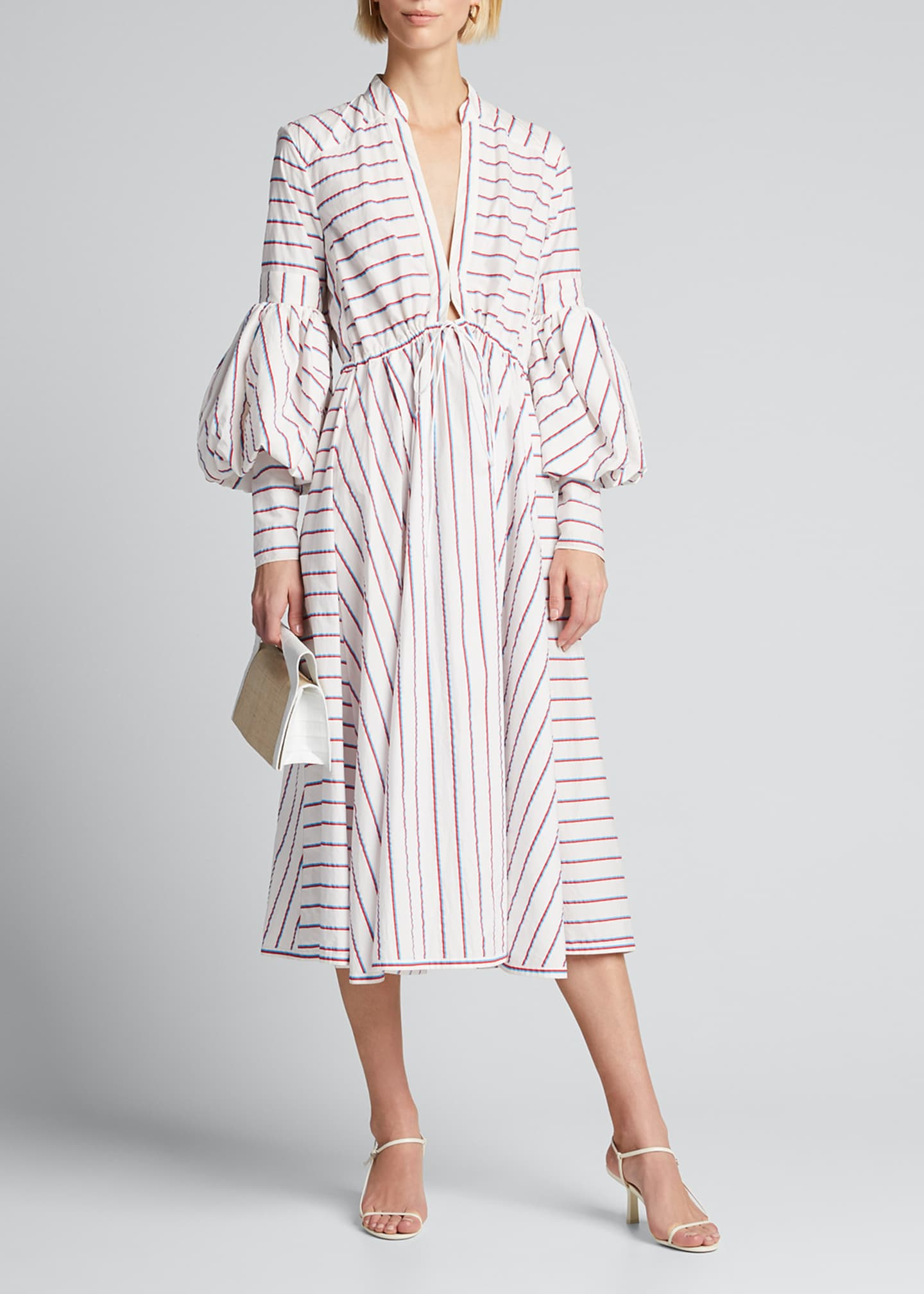 Rosie Assoulin Striped Tie-Front Midi Dress