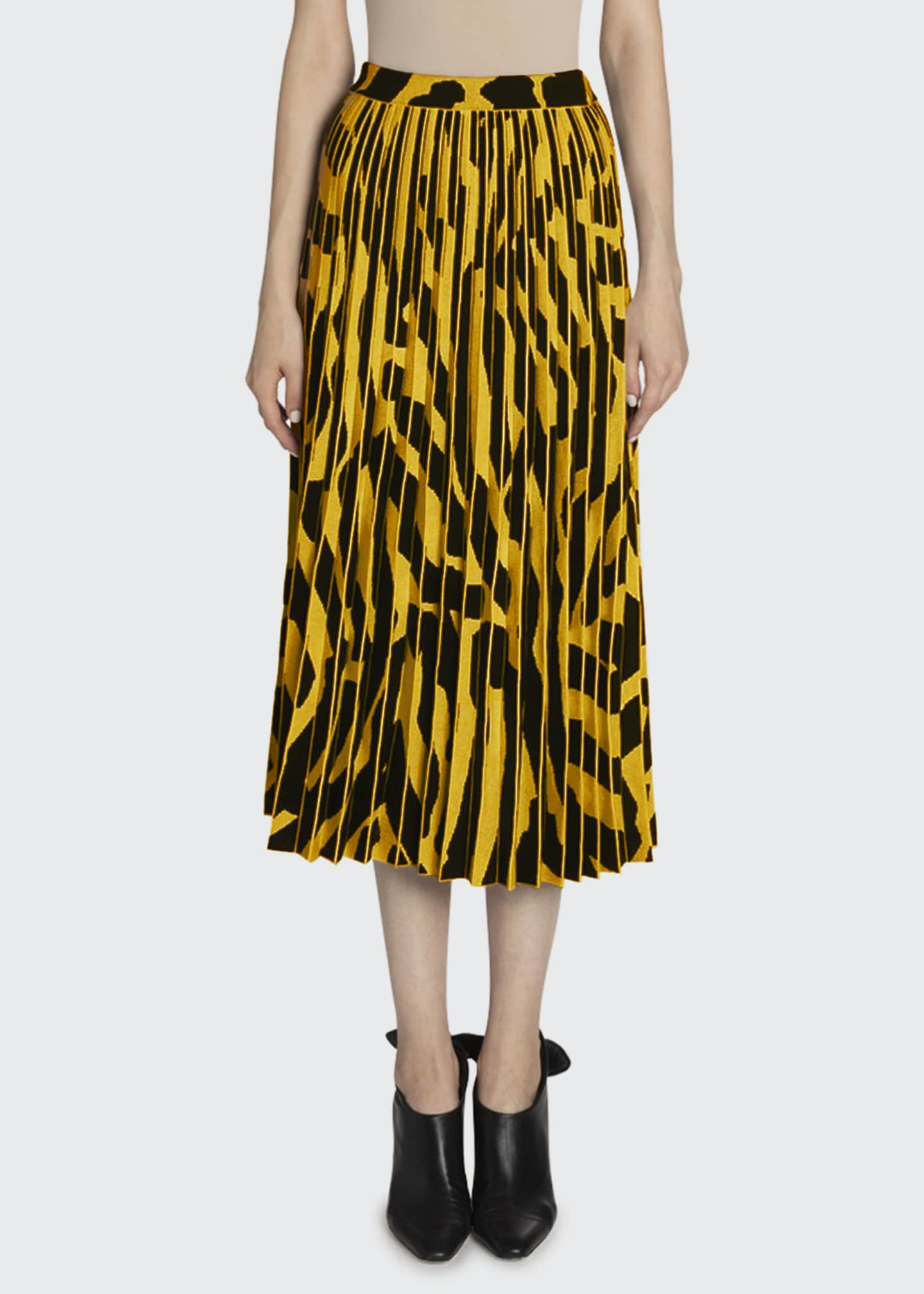 Printed Accordion Pleated Midi Skirt