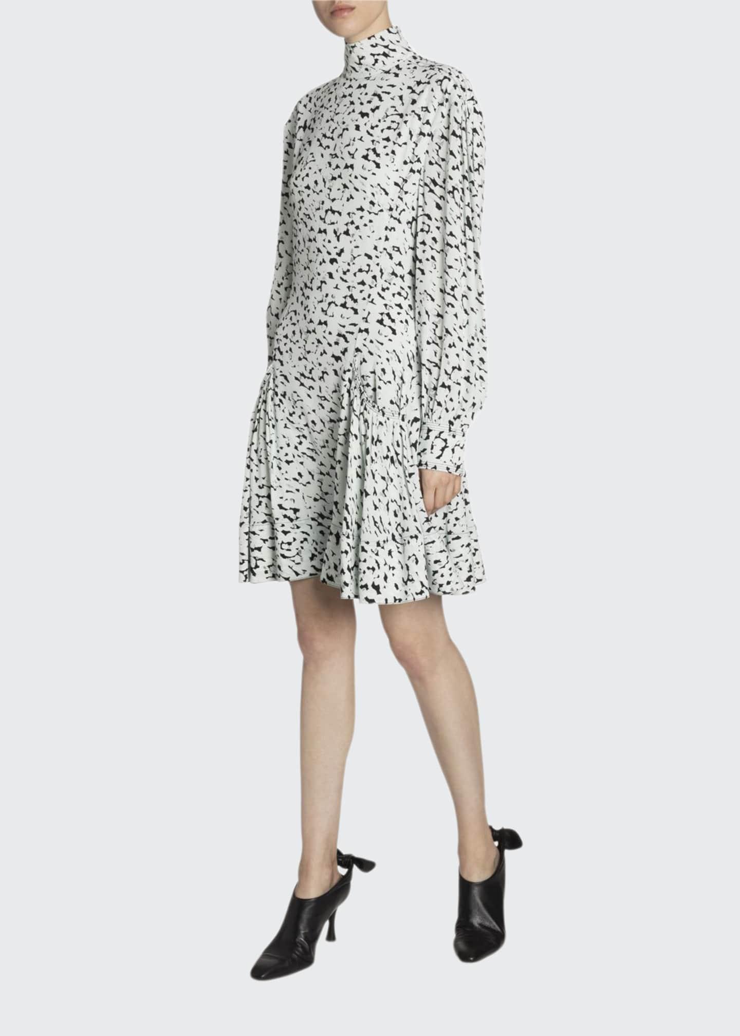 Proenza Schouler Crepe de Chine Mock-Neck Dress