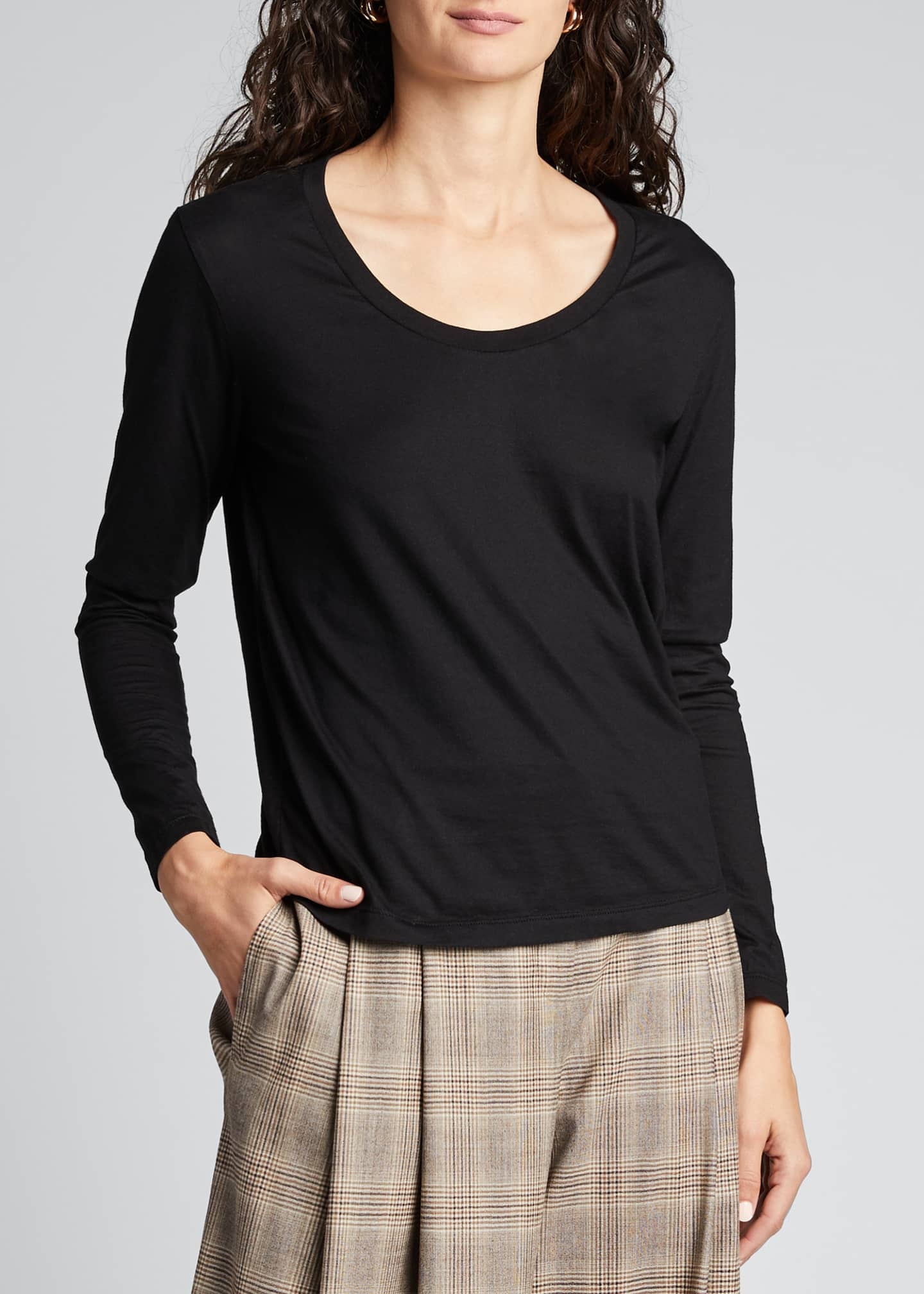 AG Cambria Scoop-Neck Long-Sleeve Top