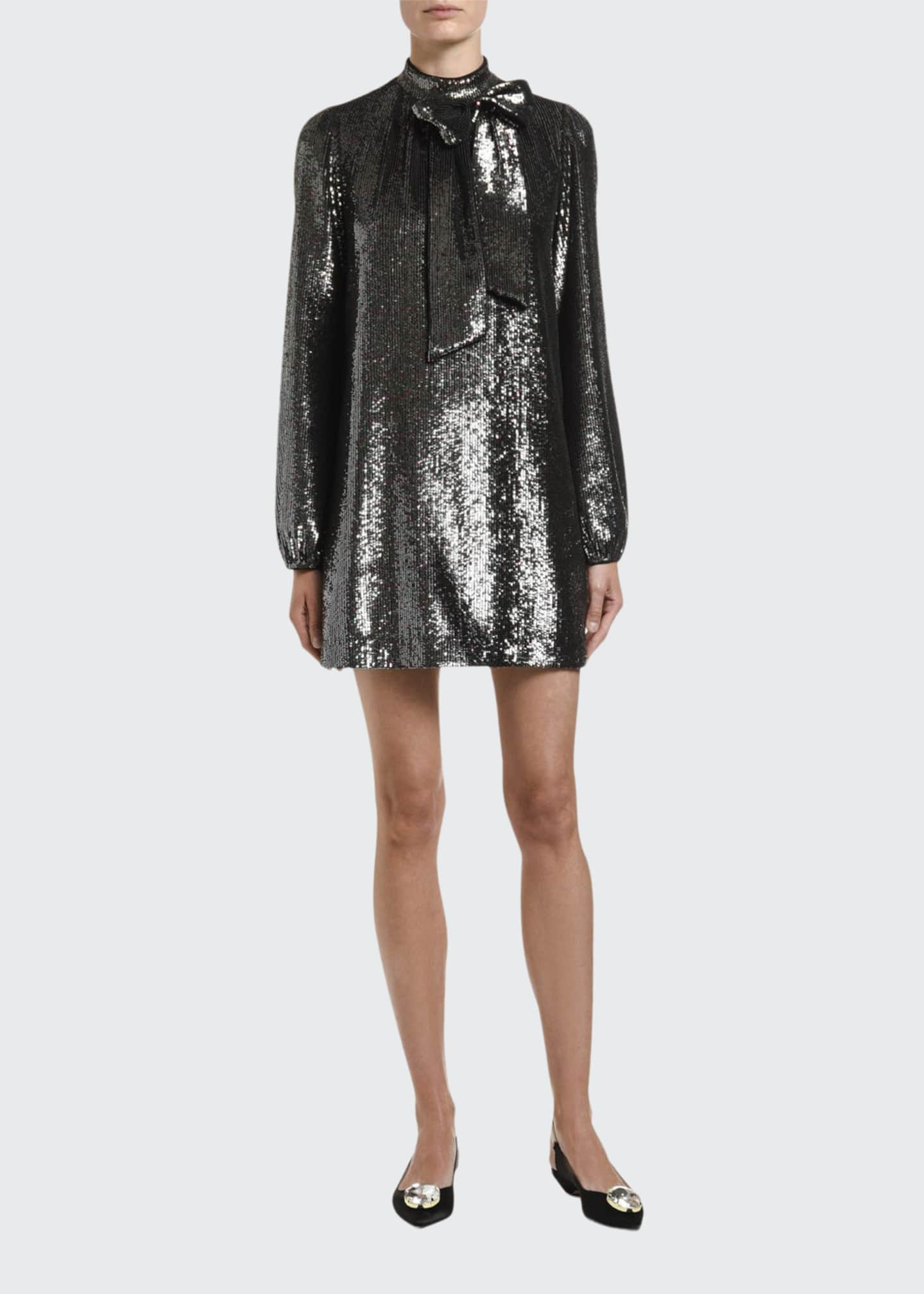 No. 21 Sequined Long-Sleeve High-Neck Dress w/ Bow