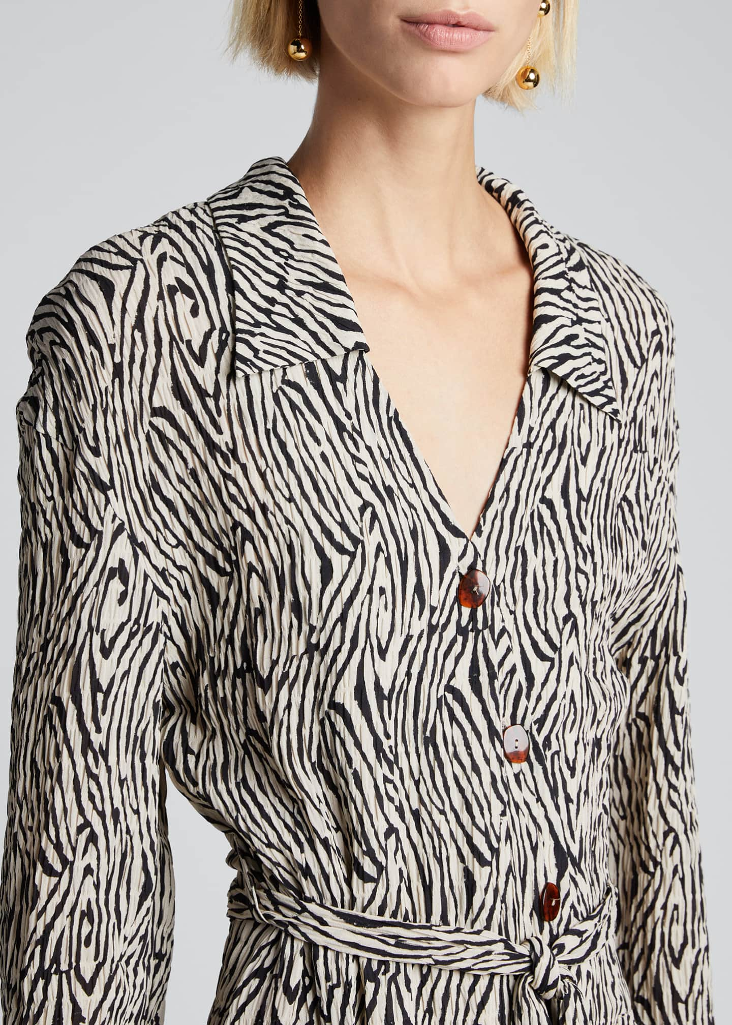 Image 4 of 5: Capri Zebra-Striped Belted Shirt Dress