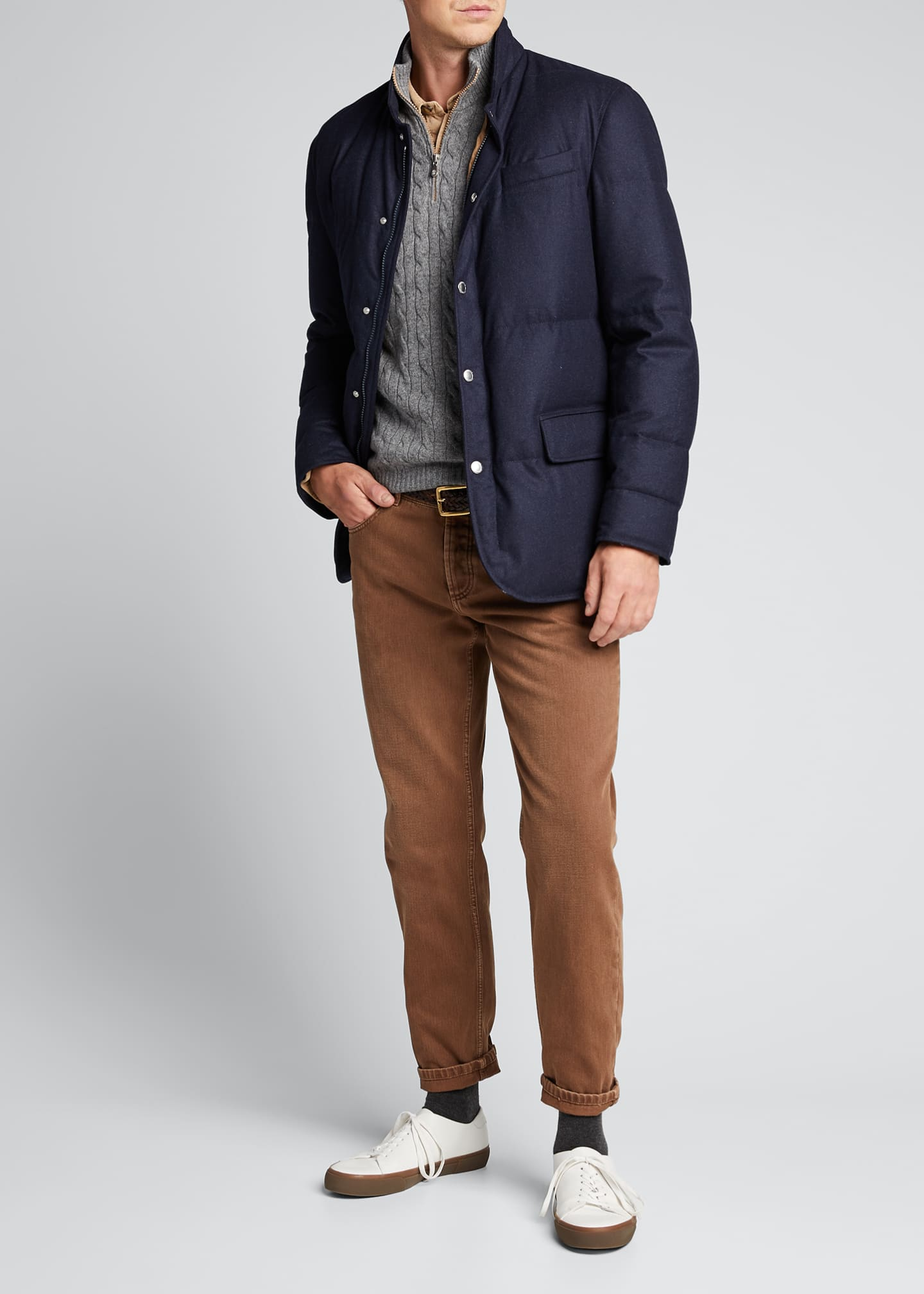 Brunello Cucinelli Men's Down-Filled Snap-Front Jacket