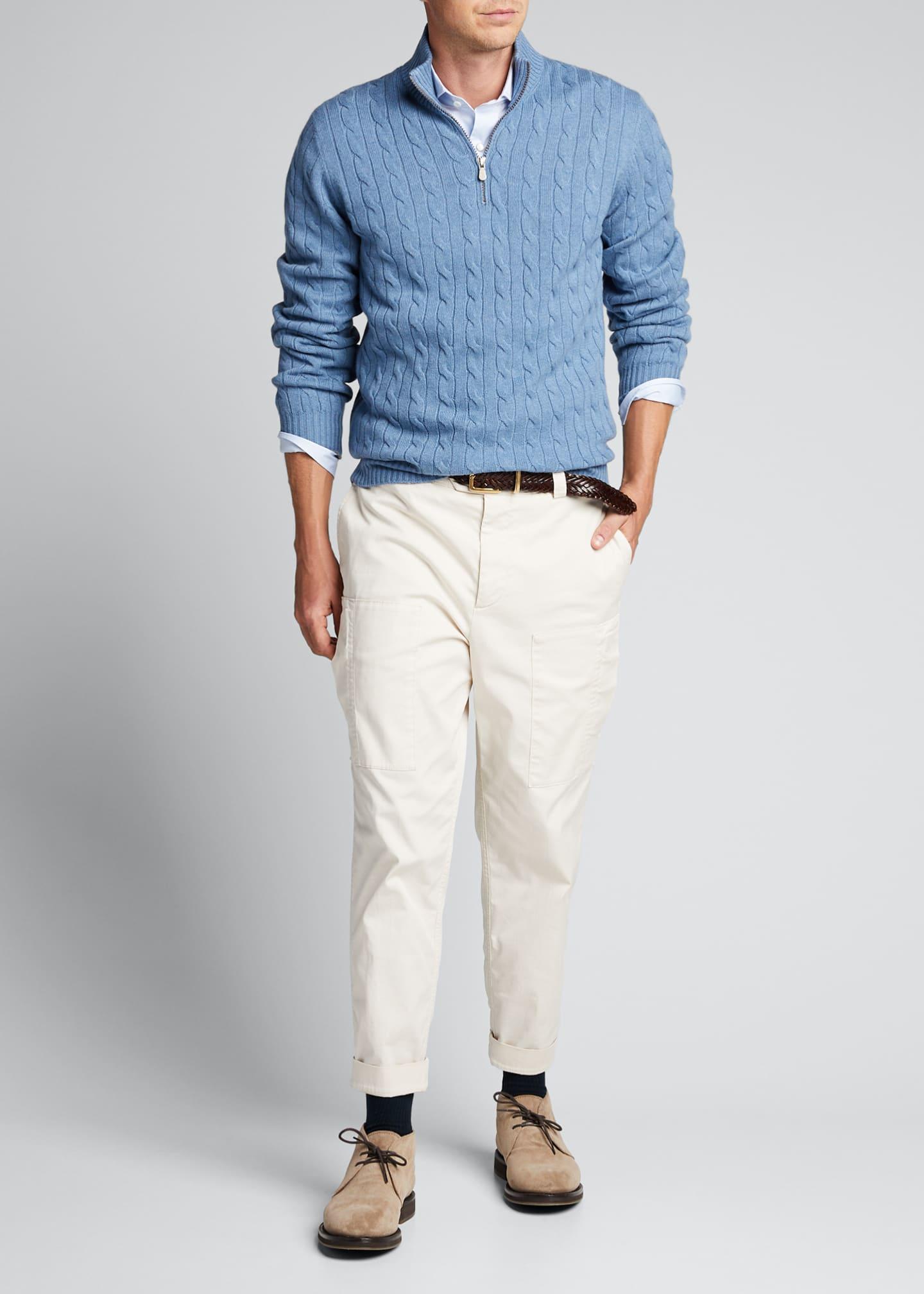 Brunello Cucinelli Men's Cashmere Cable-Knit Quarter-Zip Sweater