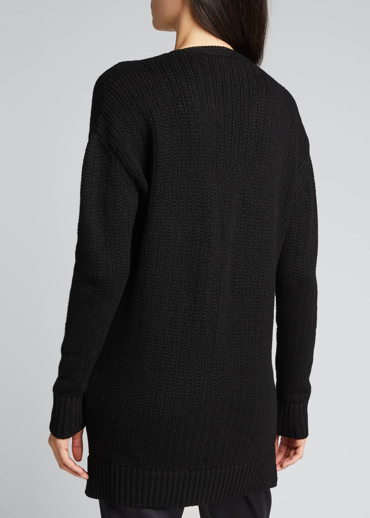 Image 2 of 5: Wool Zip-Front Long Cardigan