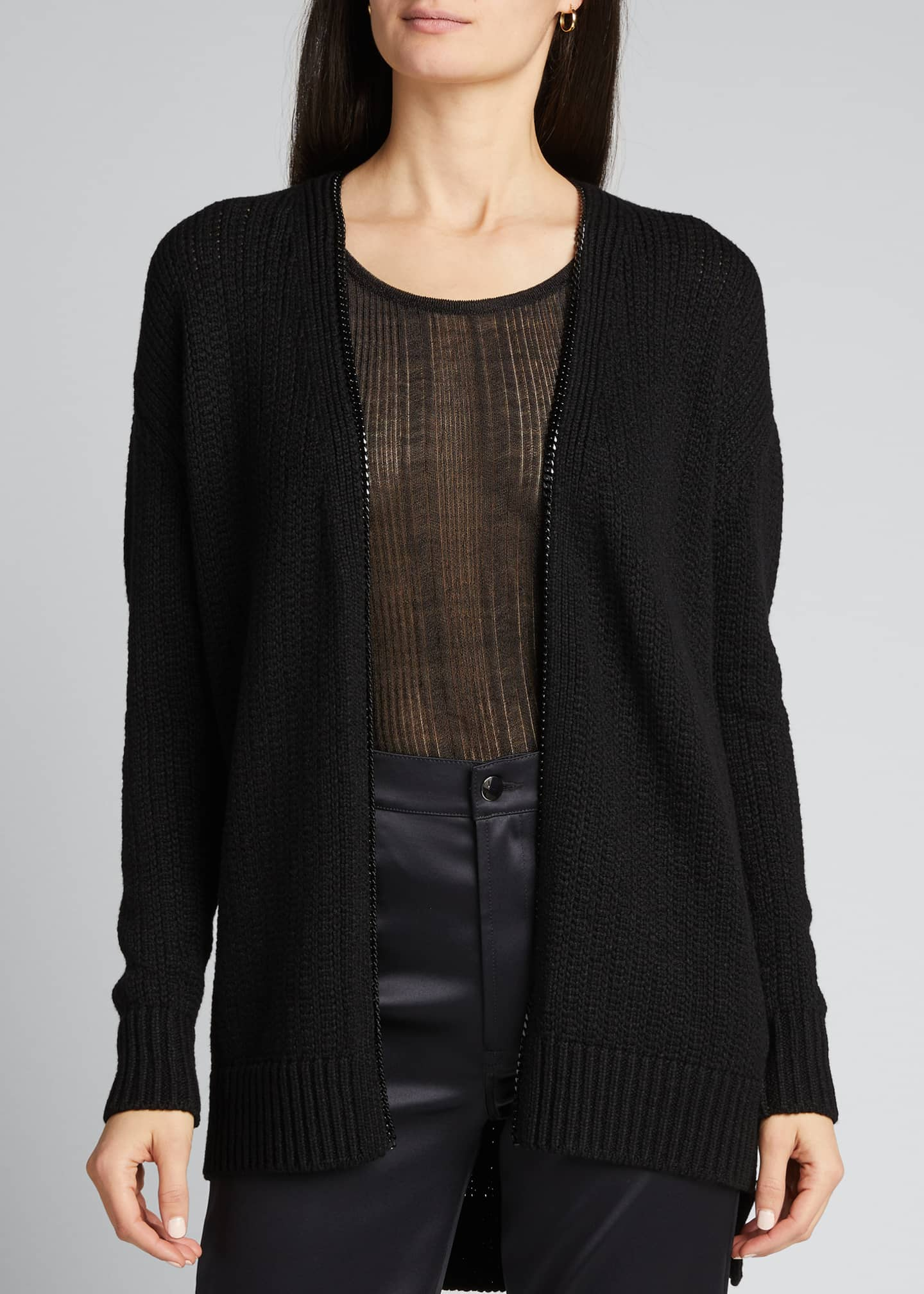 Image 3 of 5: Wool Zip-Front Long Cardigan