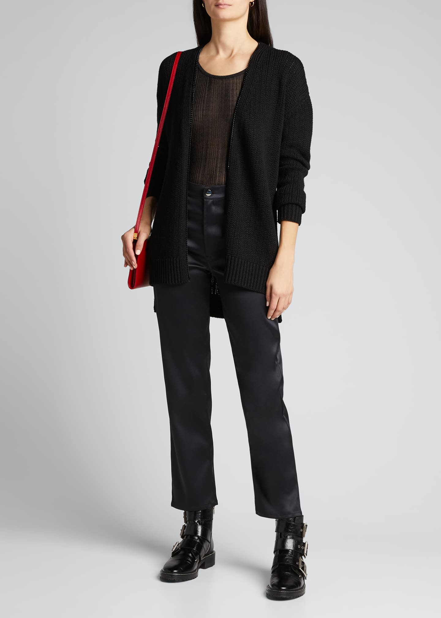Image 1 of 5: Wool Zip-Front Long Cardigan