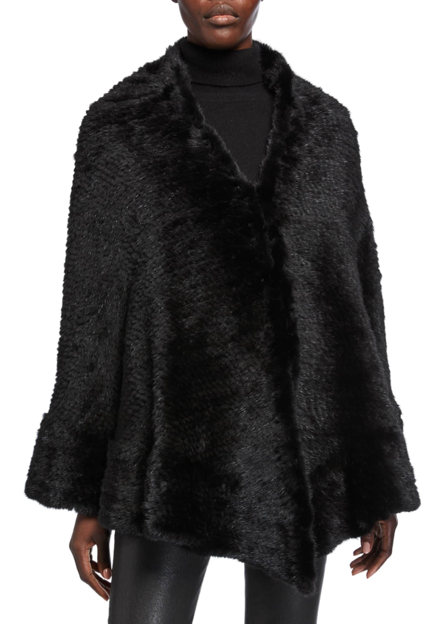Belle Fare Knitted Mink Fur Cape