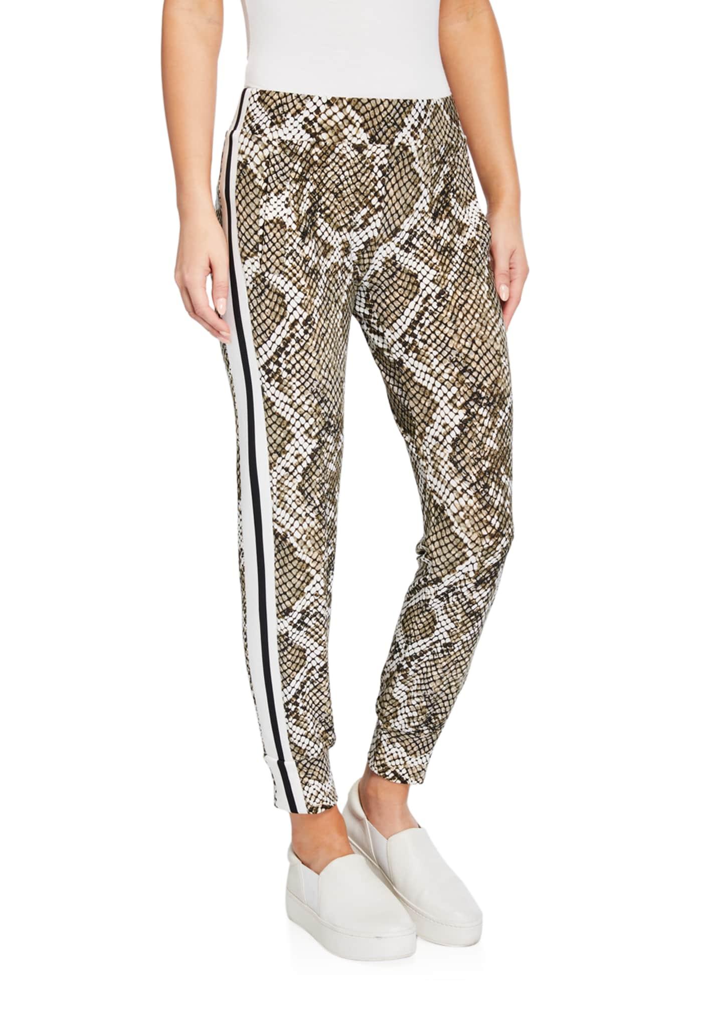 Norma Kamali Python-Print Side Stripe Jogger Pants