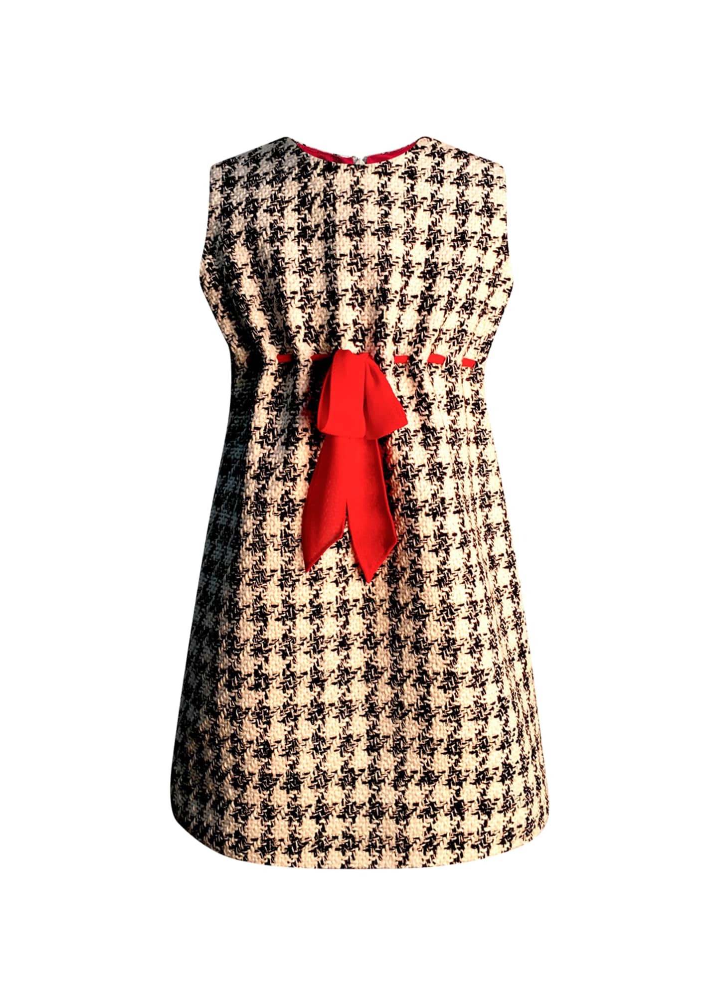 Helena Girl's Houndstooth Sleeveless Belted Dress, Size 7-14