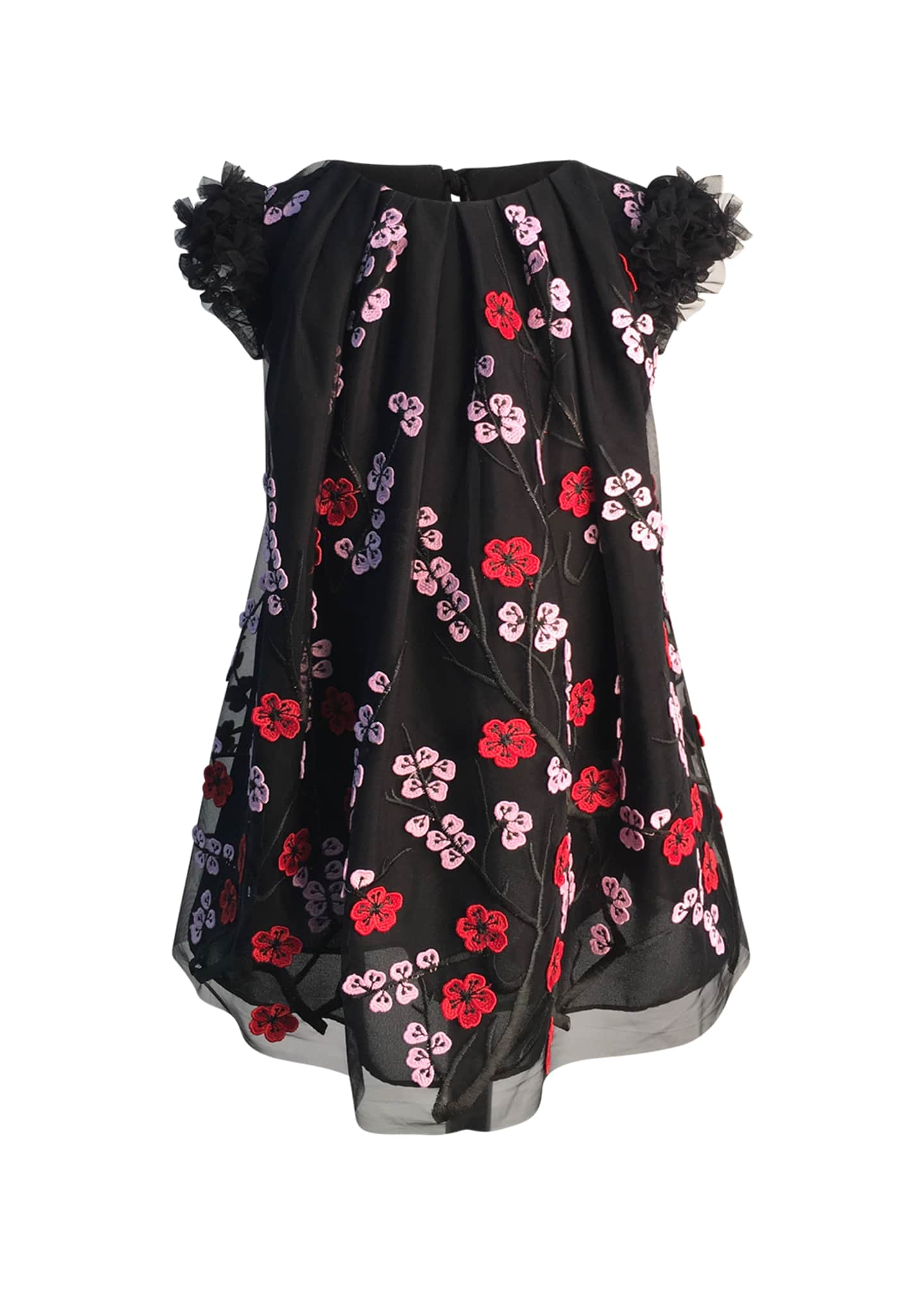 Image 1 of 1: Girl's Floral Embroidered Tulle Dress, Size 2-6