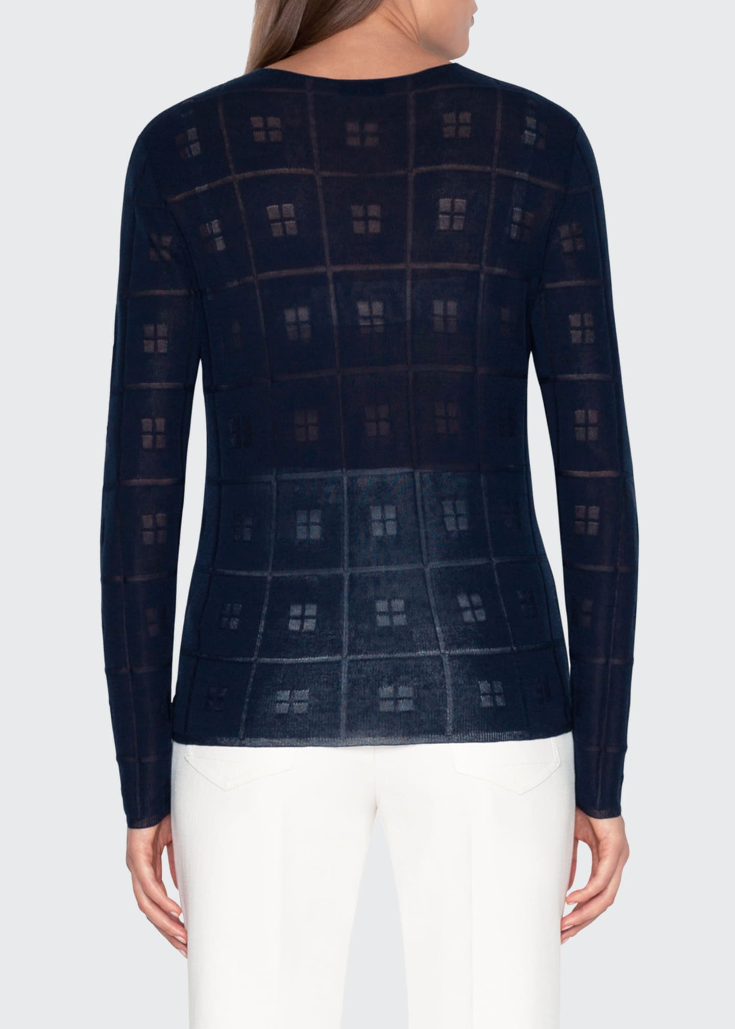 Image 2 of 3: Sheer Square-Jacquard Sweater