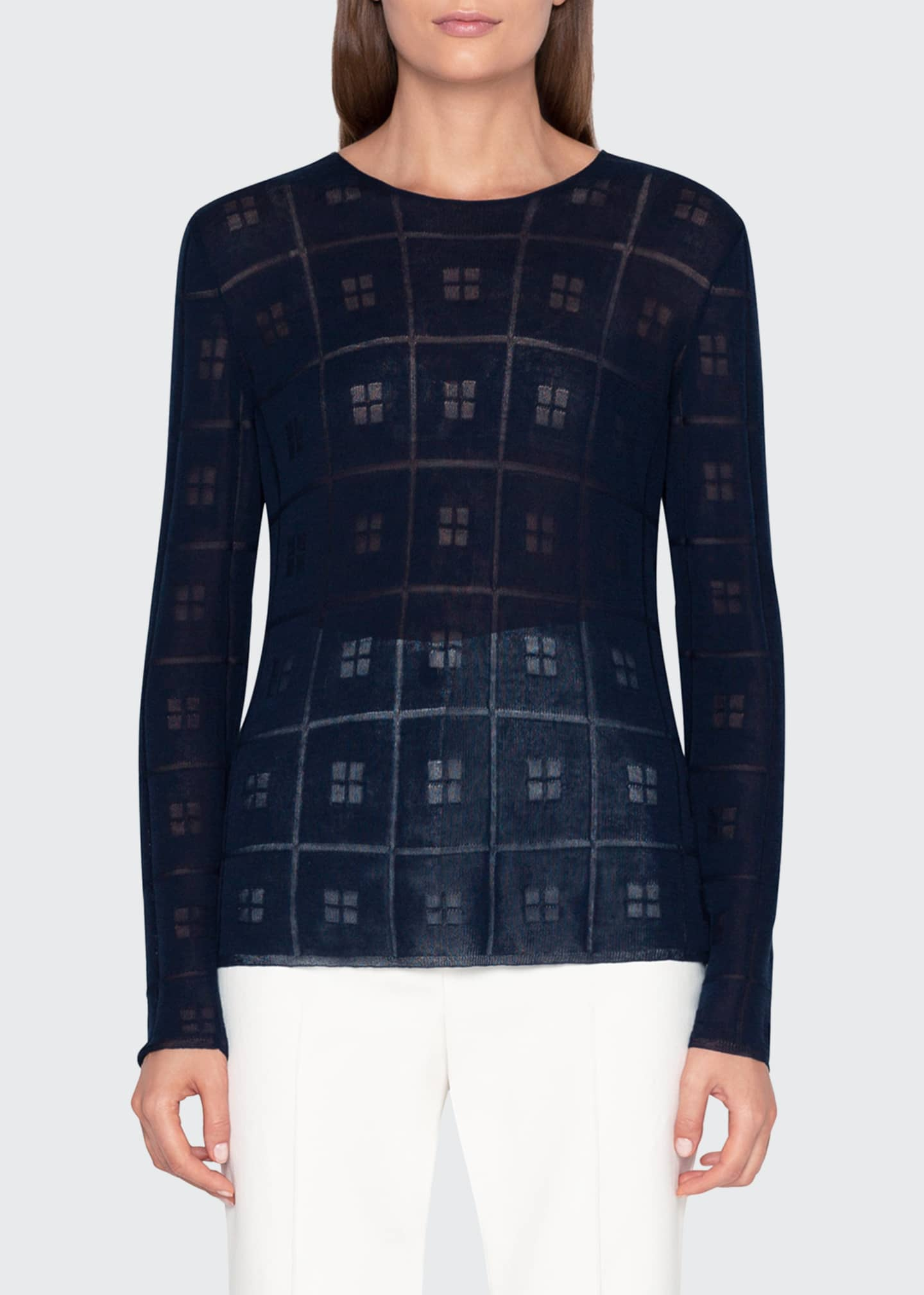 Image 3 of 3: Sheer Square-Jacquard Sweater
