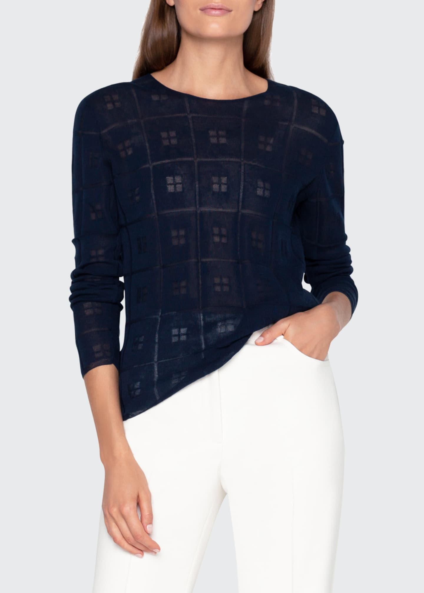Image 1 of 3: Sheer Square-Jacquard Sweater