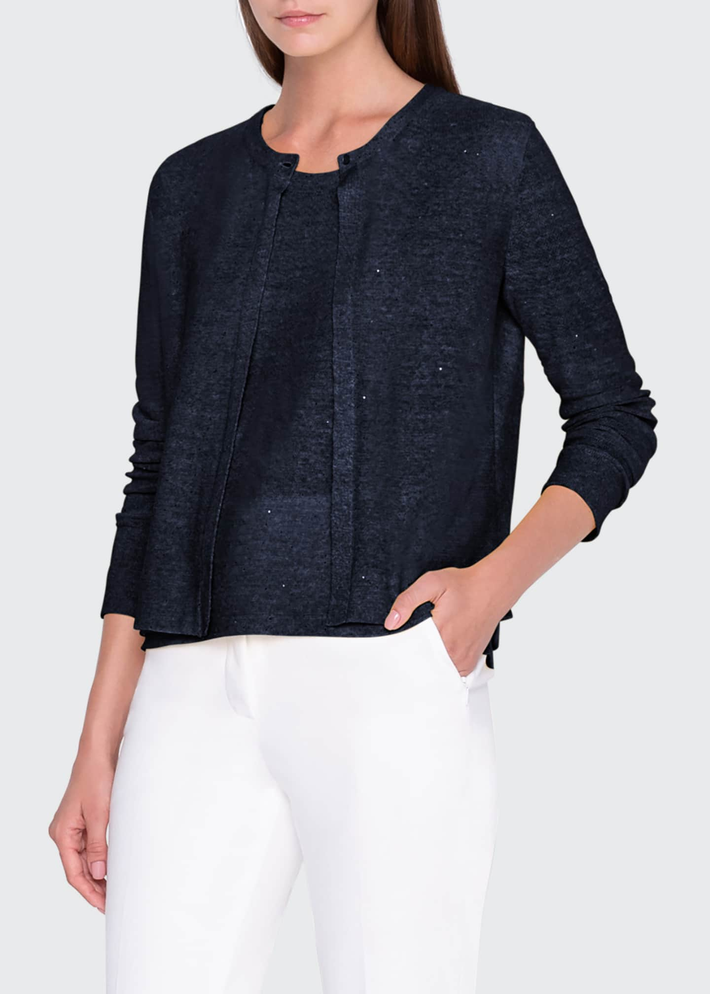 Image 1 of 3: Sequin Linen-Cotton Cardigan