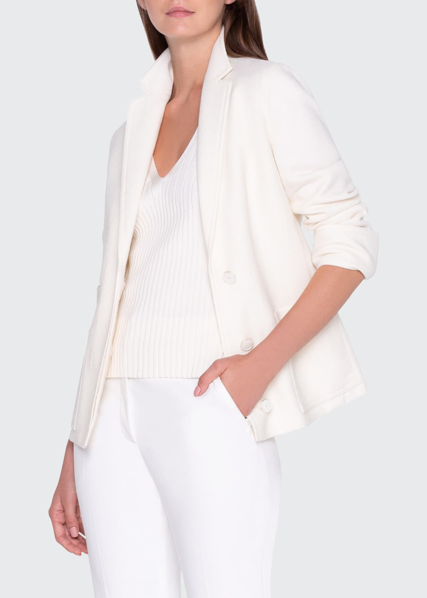 Image 1 of 3: Textured Pique Knit Jacket