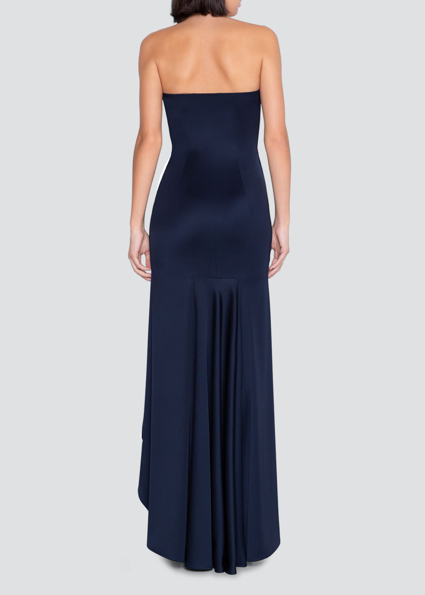 Image 2 of 2: Stretch Silk Strapless High-Low Dress