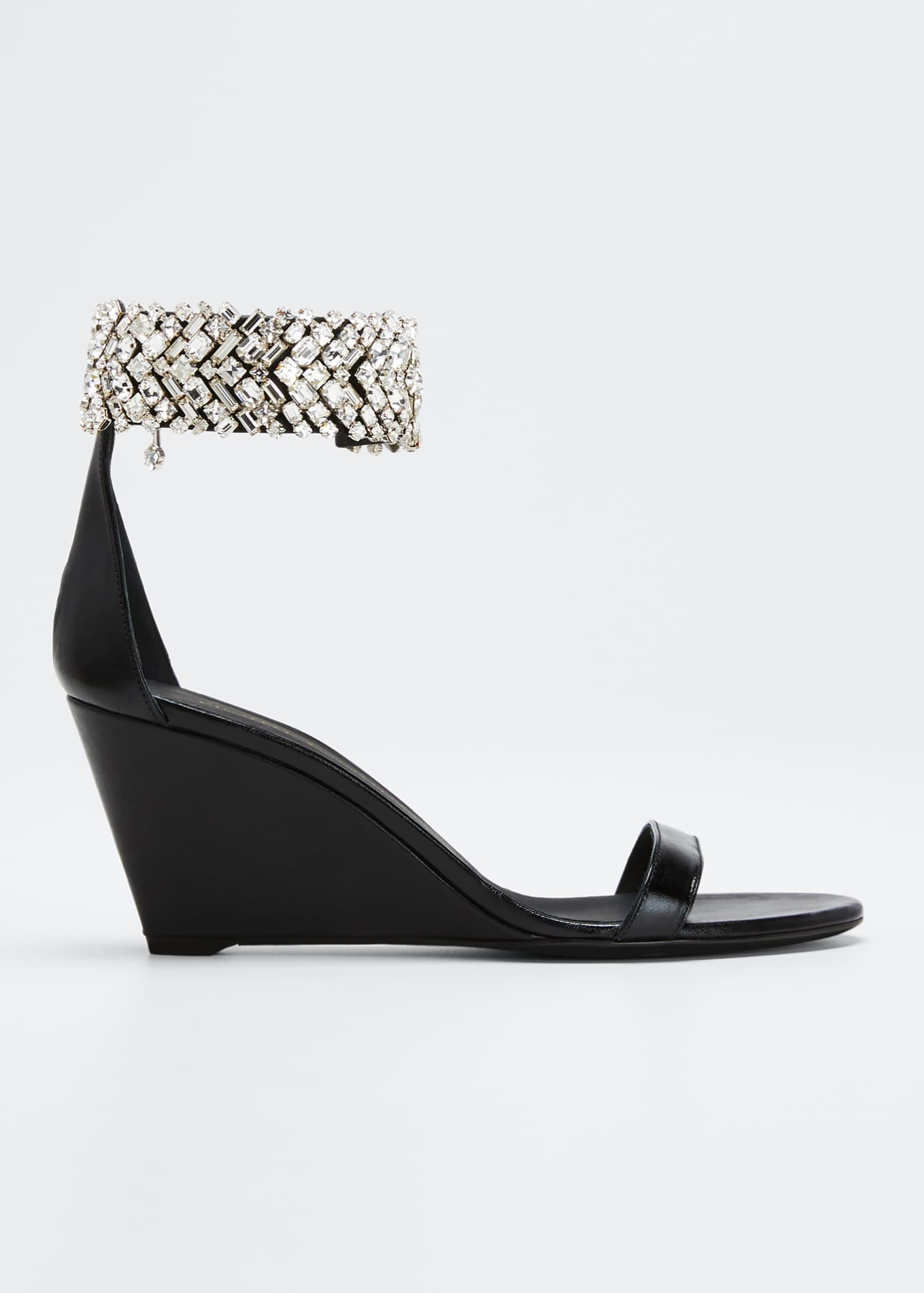Image 1 of 3: 70mm Jet Wedge Sandals With Crystal Ankle Strap