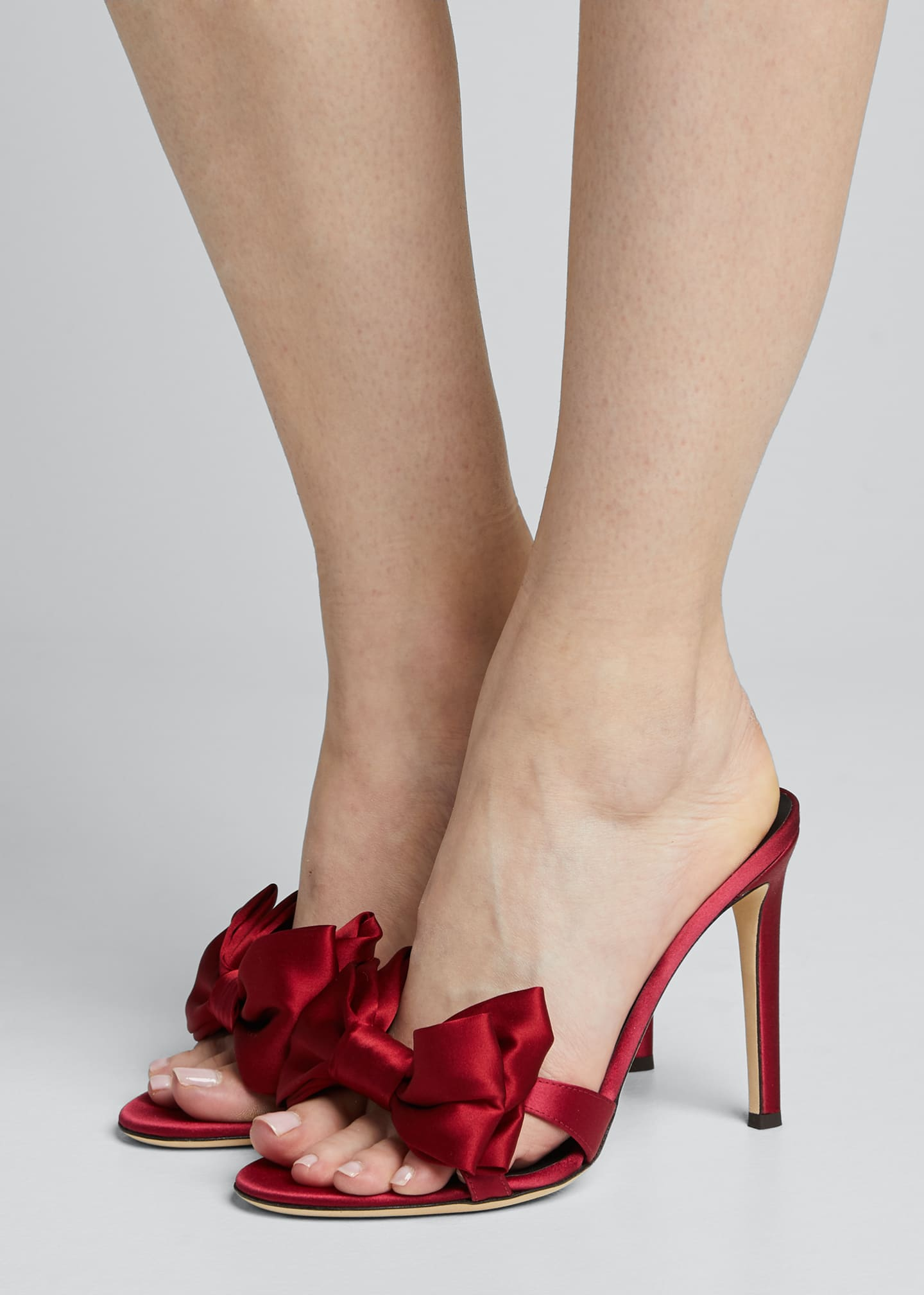 Image 2 of 5: 105mm Ricoperto Satin Bow Sandals