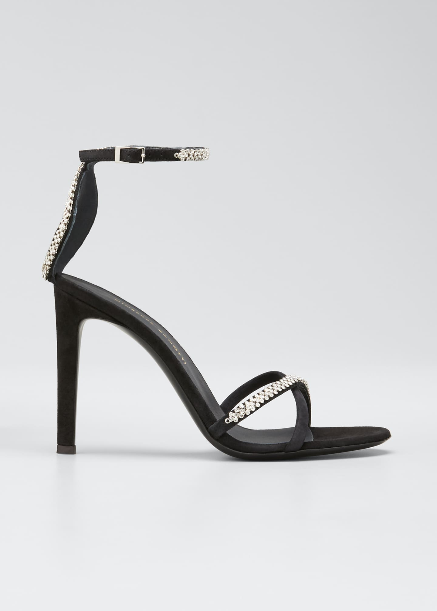Giuseppe Zanotti Ricoperto Crystal Suede Strappy Sandals