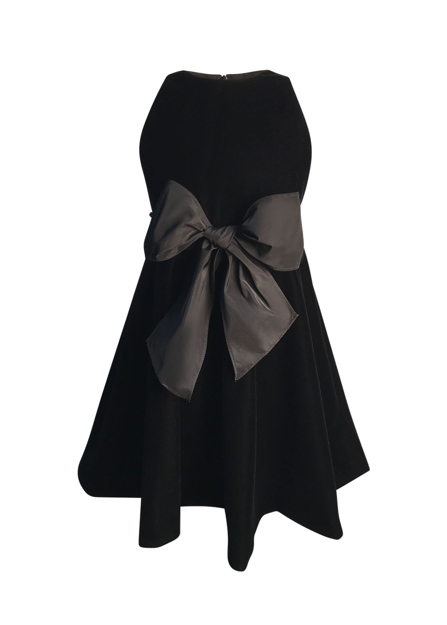 Image 1 of 1: Girl's Sleeveless Velvet Bow Dress, Size 7-14