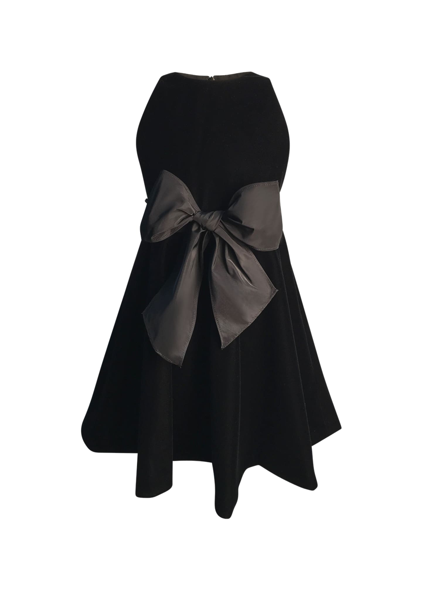 Image 1 of 1: Girl's Sleeveless Velvet Bow Dress, Size 2-6