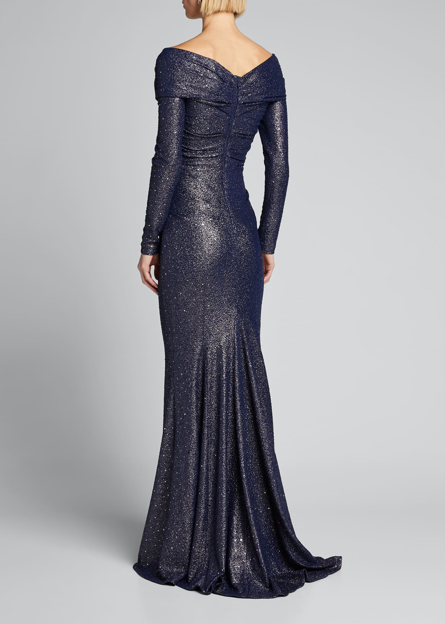 Image 2 of 5: Ruched Sequined Stretch Jersey Gown