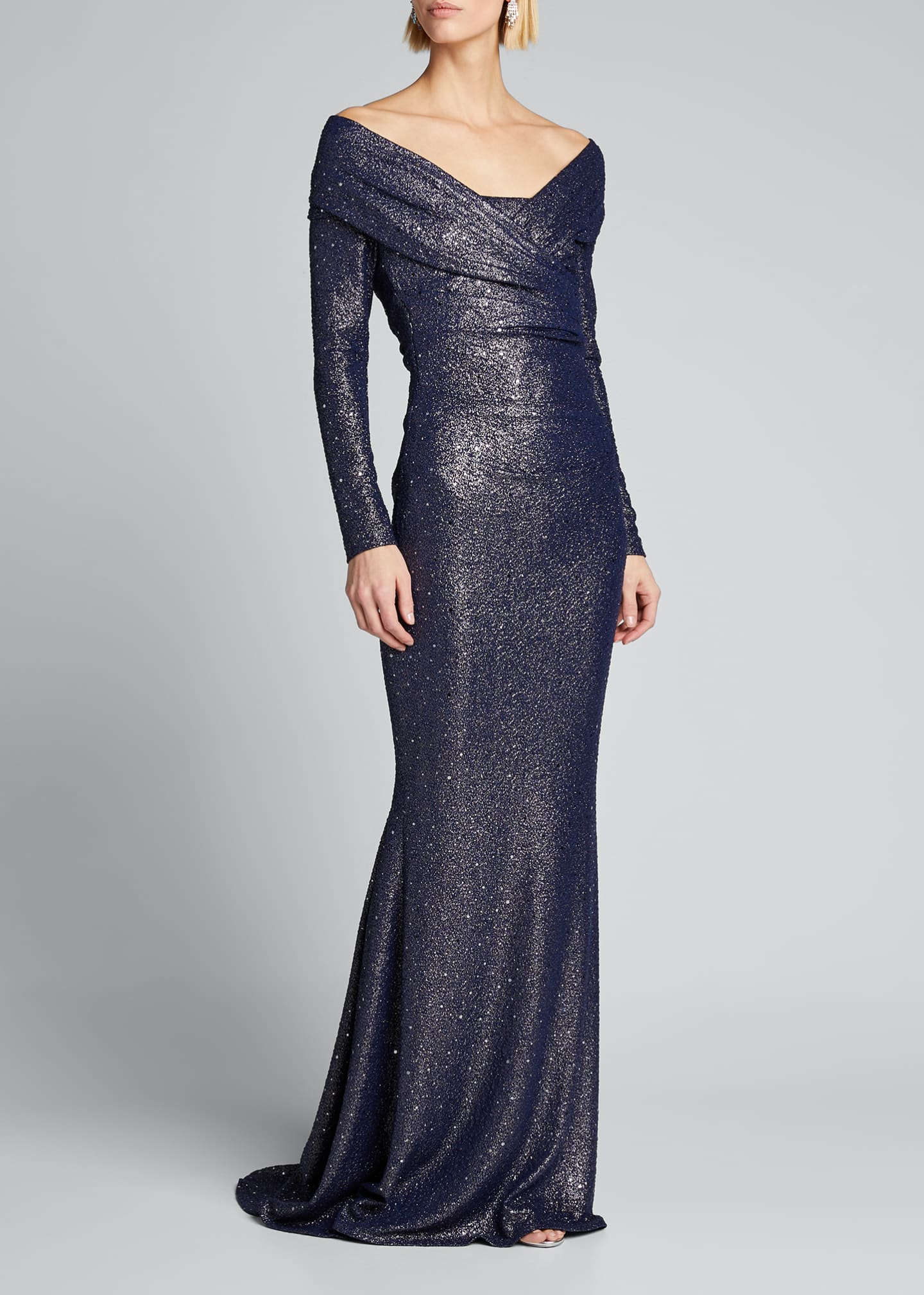 Image 3 of 5: Ruched Sequined Stretch Jersey Gown