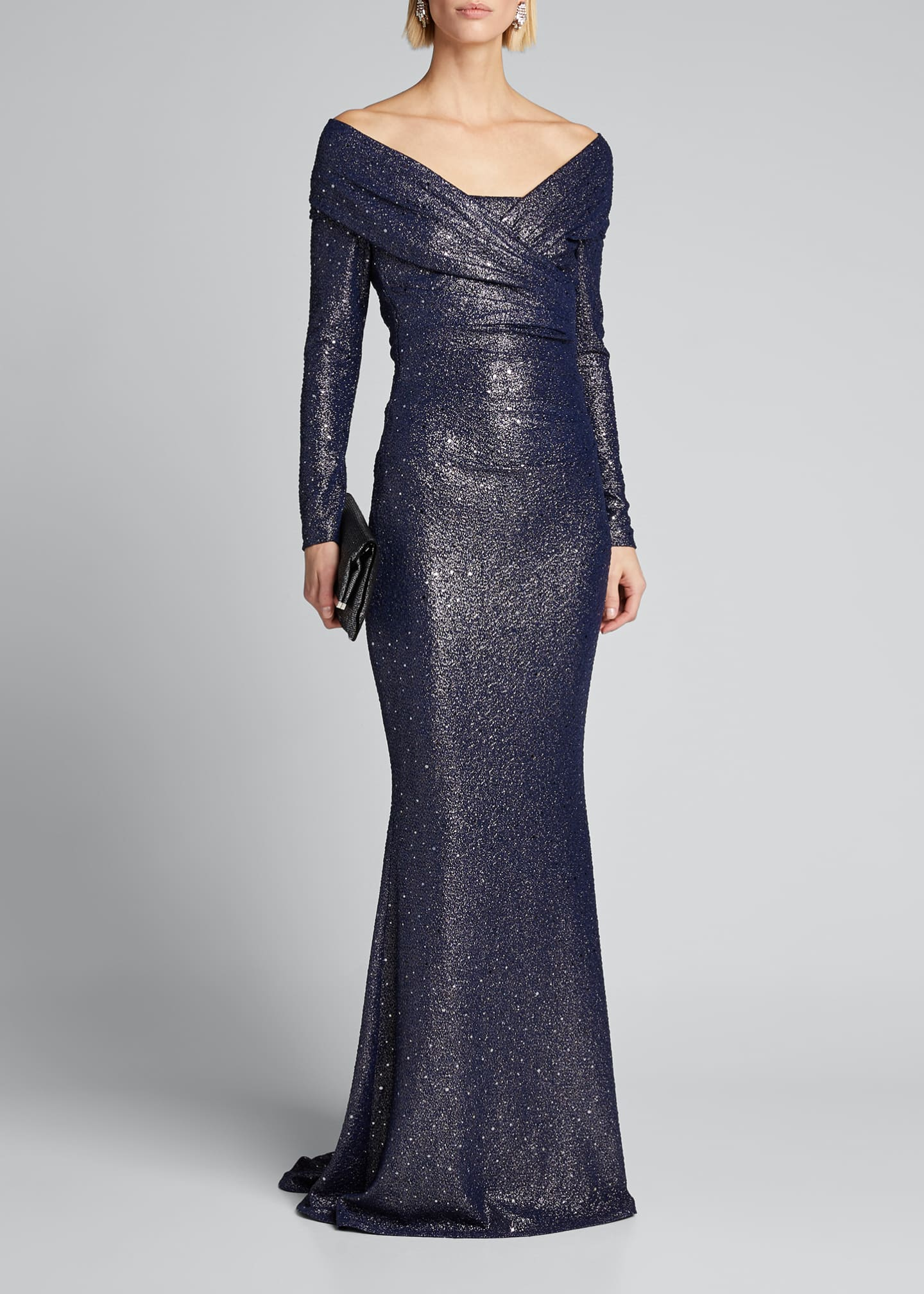 Image 1 of 5: Ruched Sequined Stretch Jersey Gown