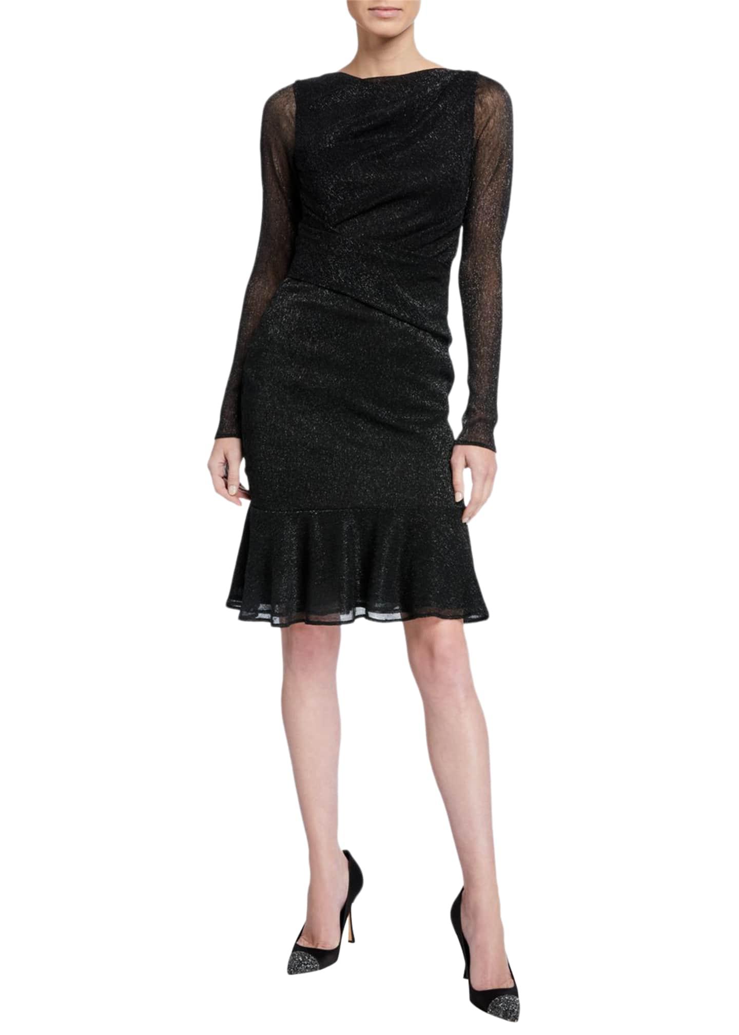 Talbot Runhof Metallic Long-Sleeve A-line Cocktail Dress