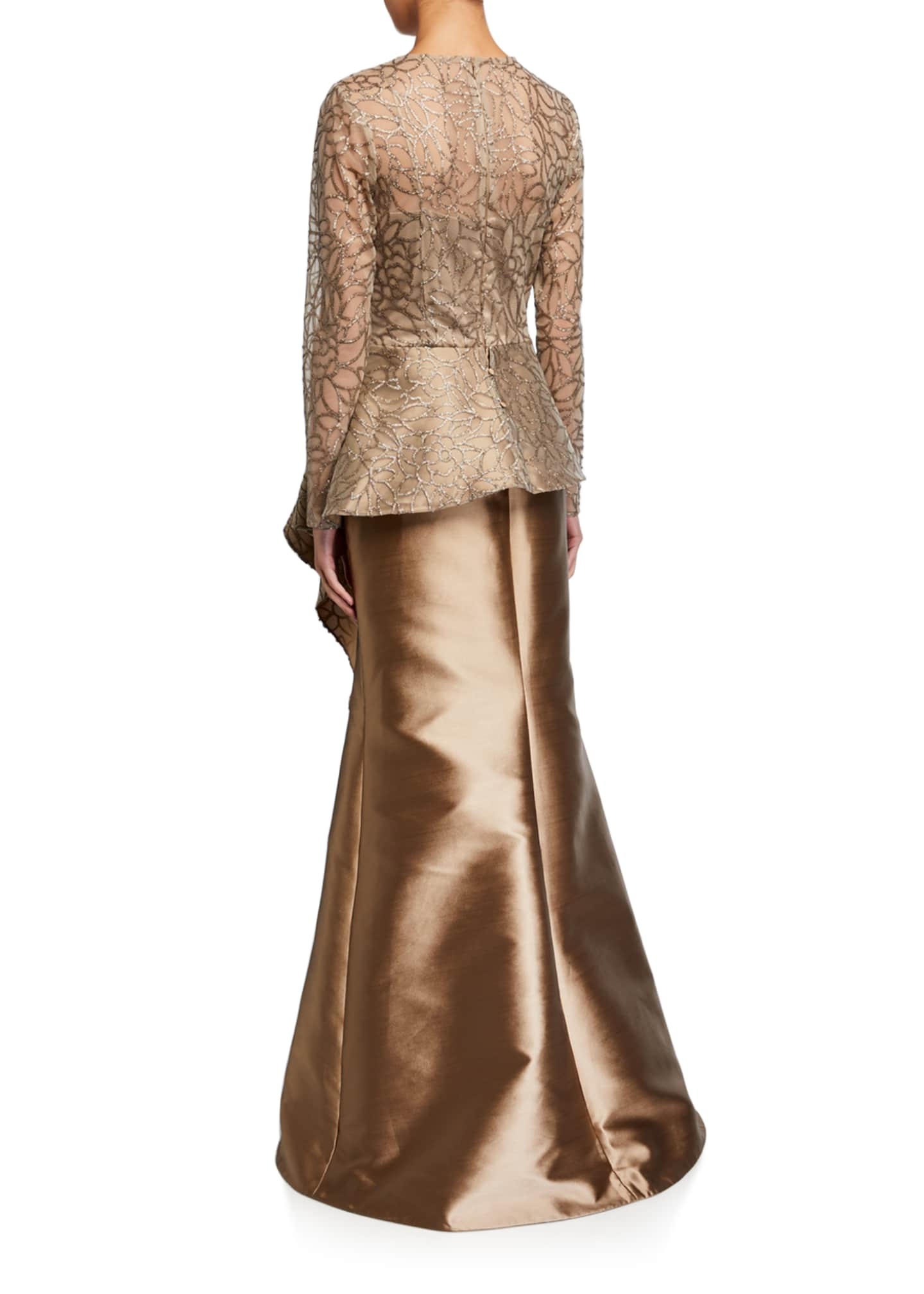 Image 2 of 2: Sequin Leaf Pattern Tulle Peplum Top w/ Gazar Skirt Gown
