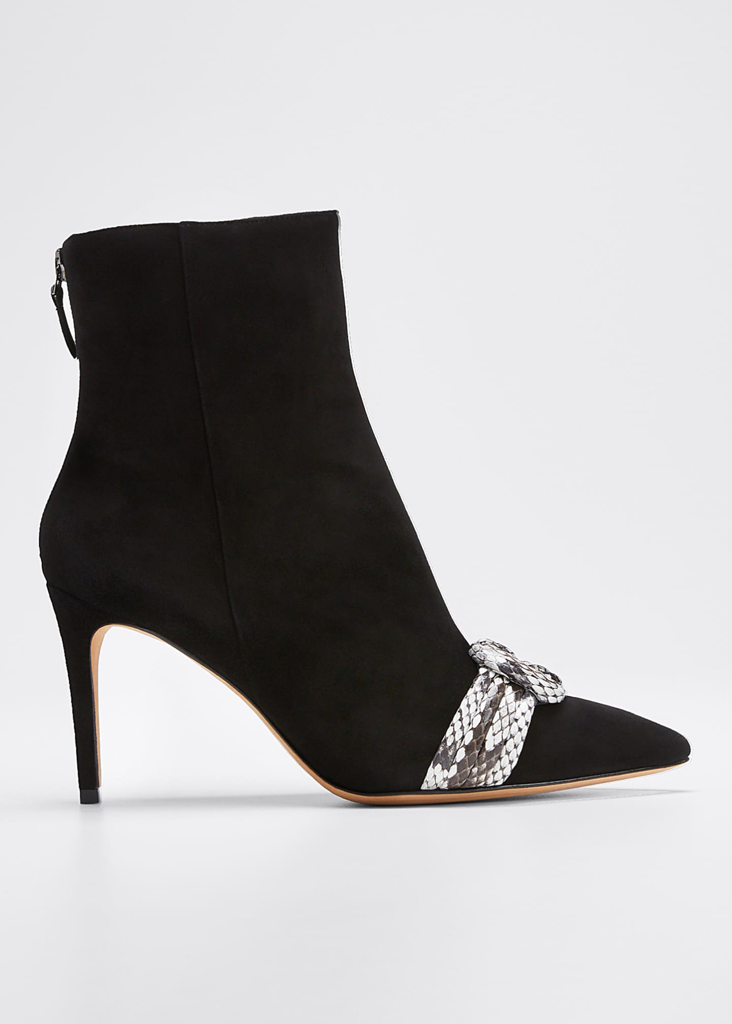 Alexandre Birman Vicky Suede and Exotic Python Booties