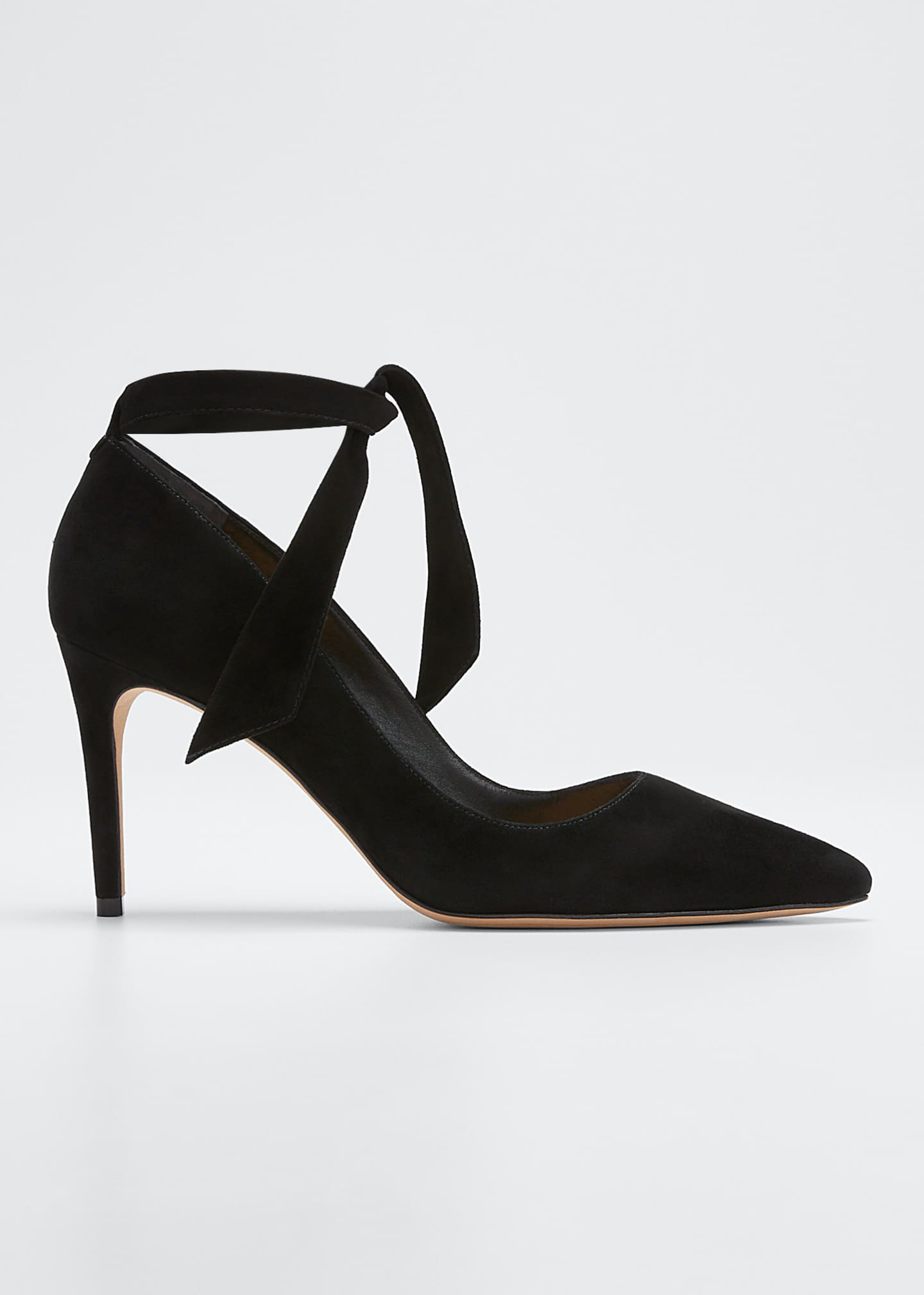 Alexandre Birman Clarita Knotted Suede Ankle-Wrap Pumps
