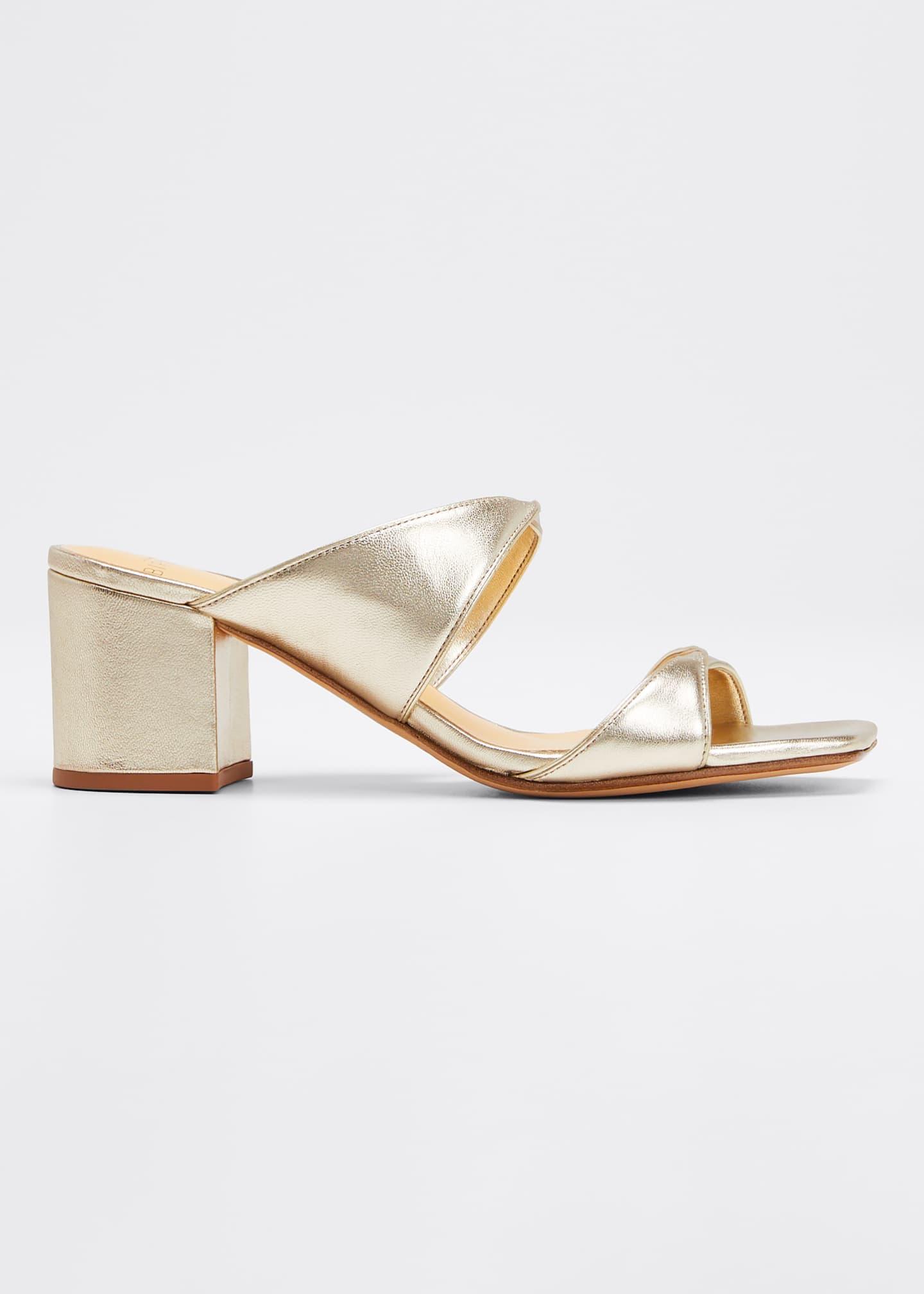 Alexandre Birman Miki Twisted Metallic Leather Slide Sandals