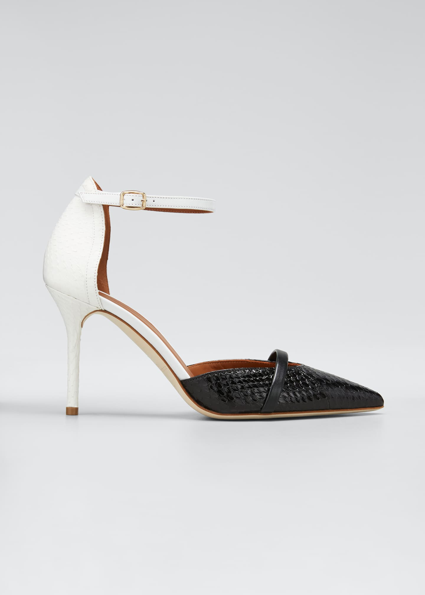 Malone Souliers Booboo 85mm Two-Tone Snake Pumps