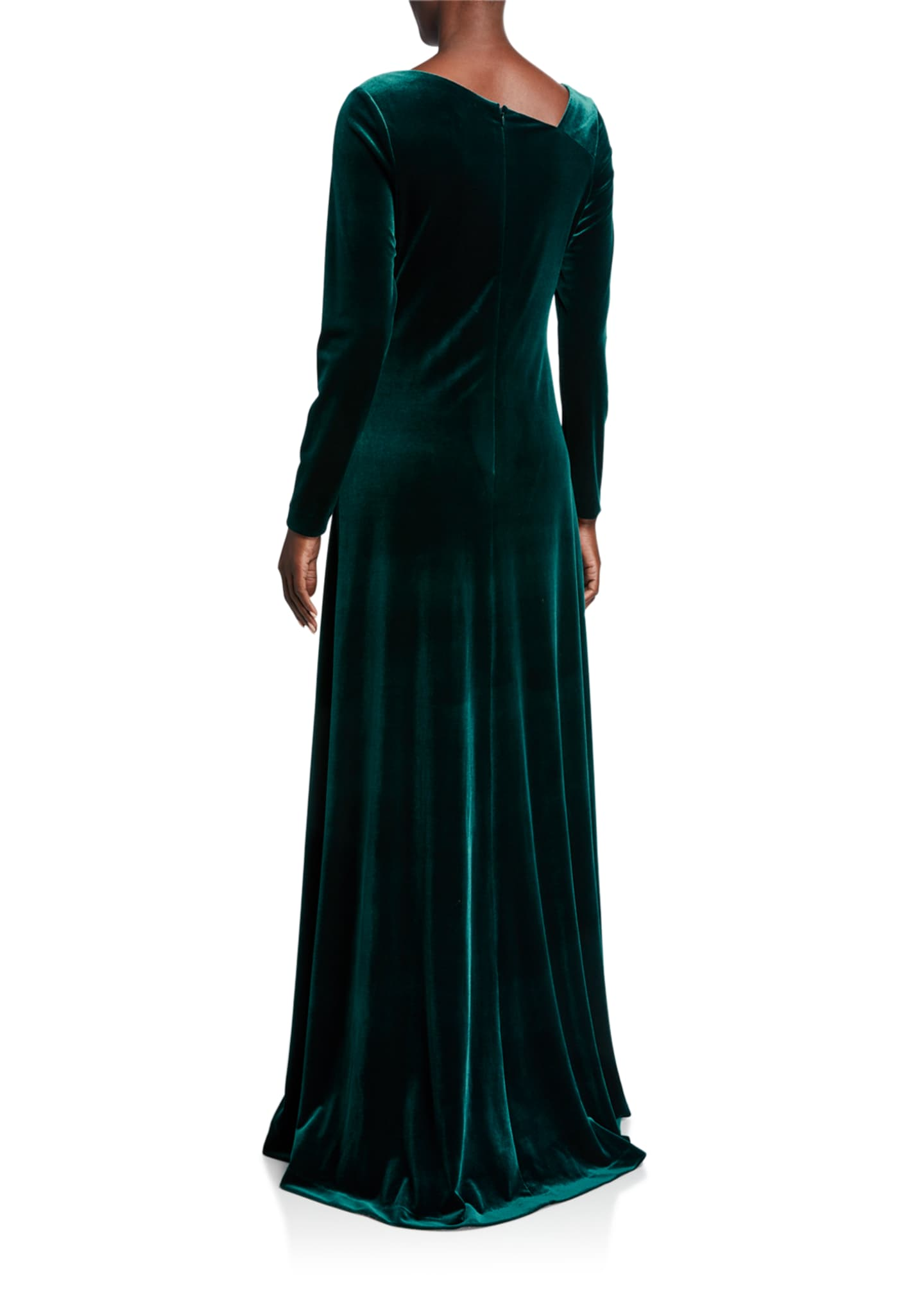 Image 2 of 2: Asymmetric Neck Long-Sleeve Velvet Gown