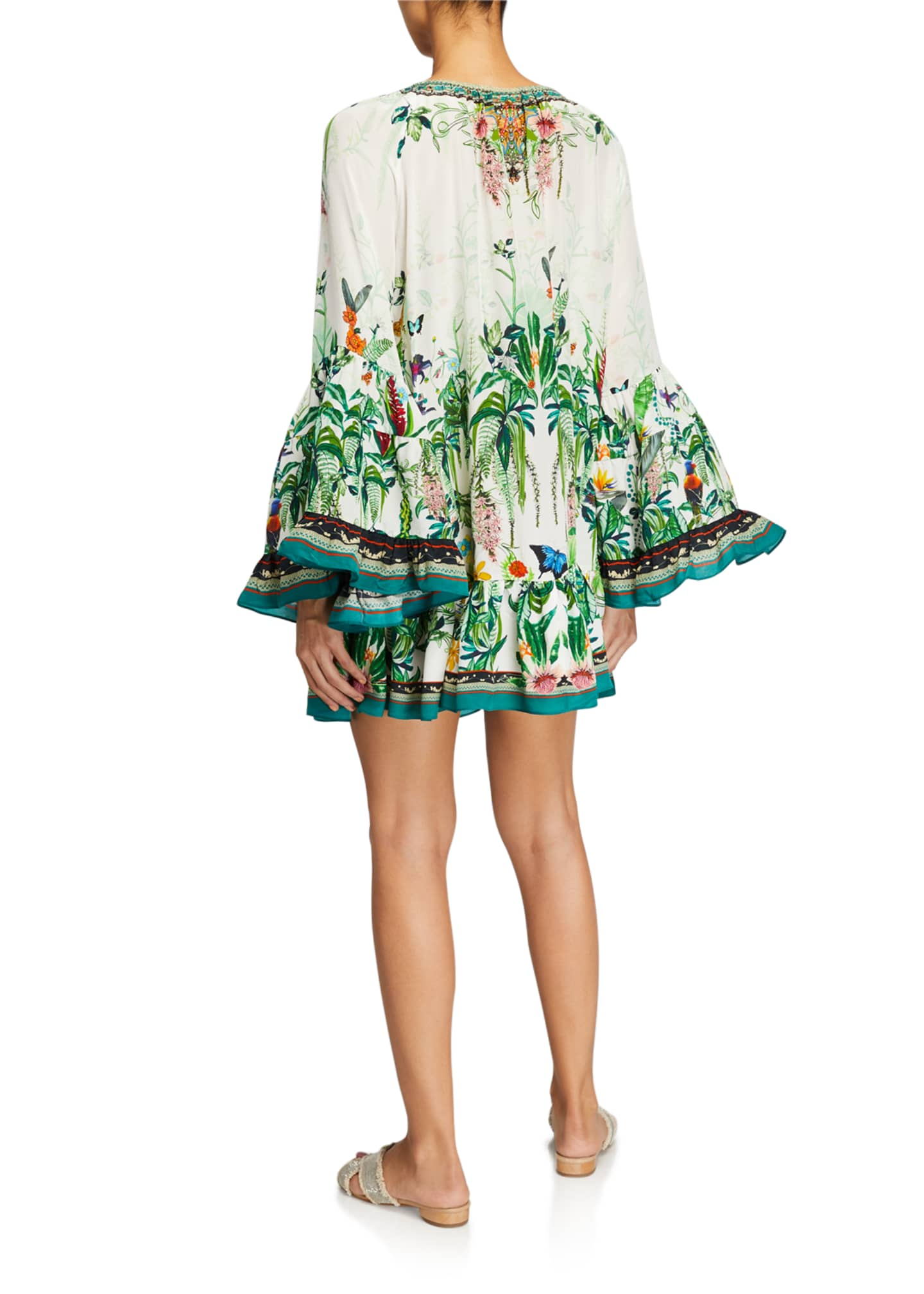 Image 2 of 2: Floral A-Line Flared-Sleeve Mini Frill Dress