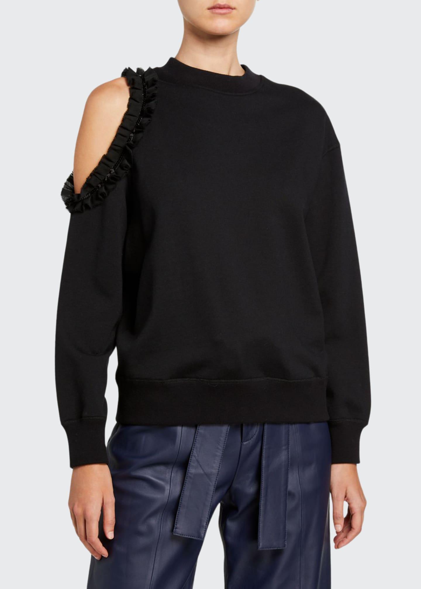 Jason Wu Crewneck Long-Sleeve Cold-Shoulder Sweatshirt