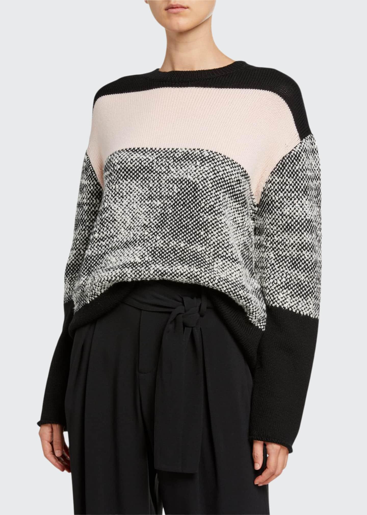 Jason Wu Colorblock Merino Wool Crewneck Long-Sleeve Sweater