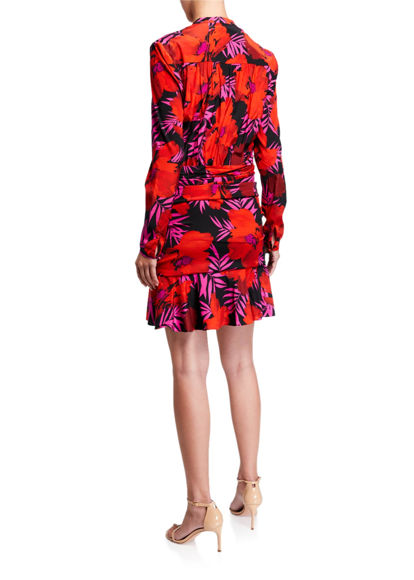 Image 2 of 2: Lorina Floral-Print Tie-Front Dress
