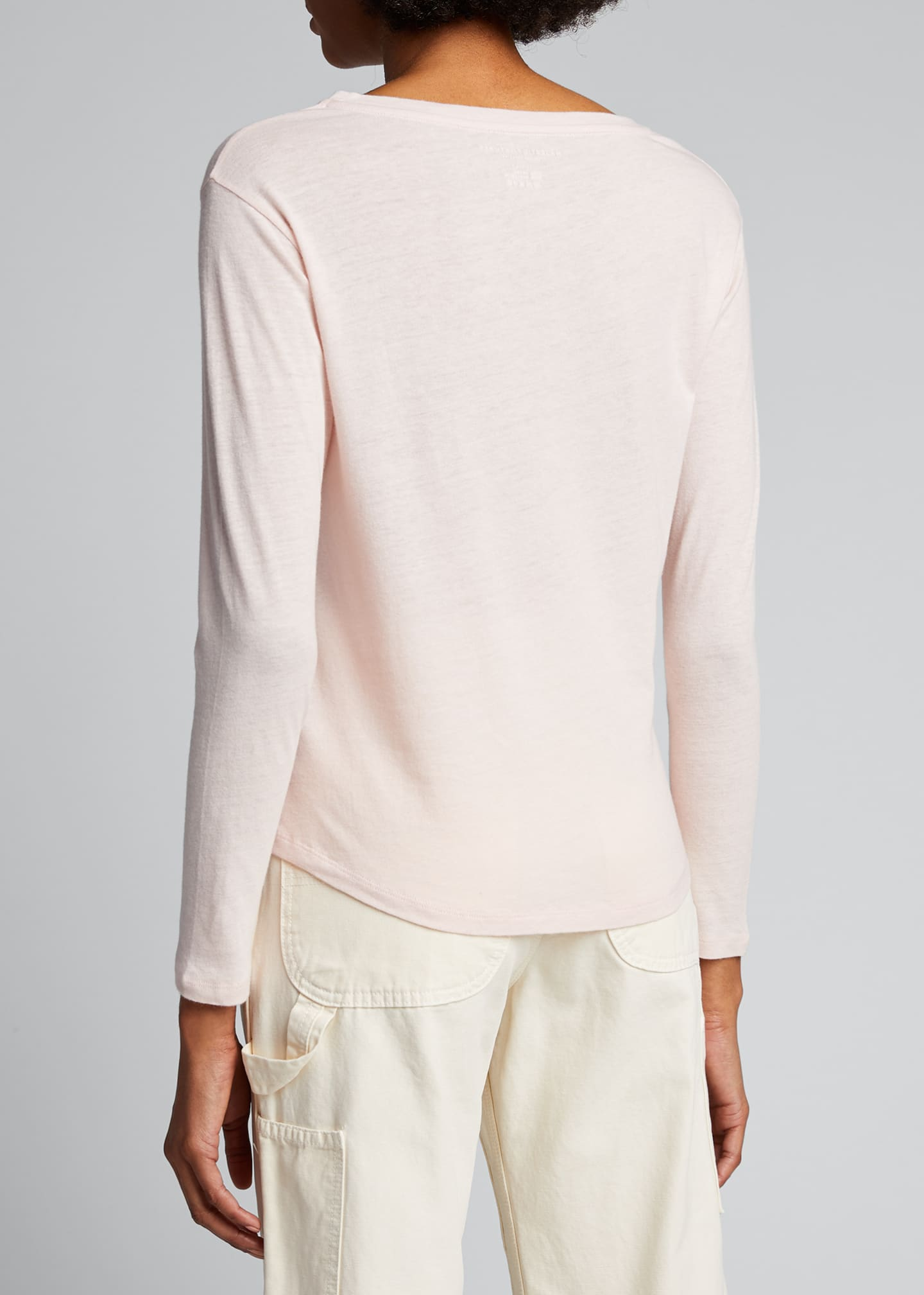 Image 2 of 5: Boat-Neck Long-Sleeve Cotton-Blend Top