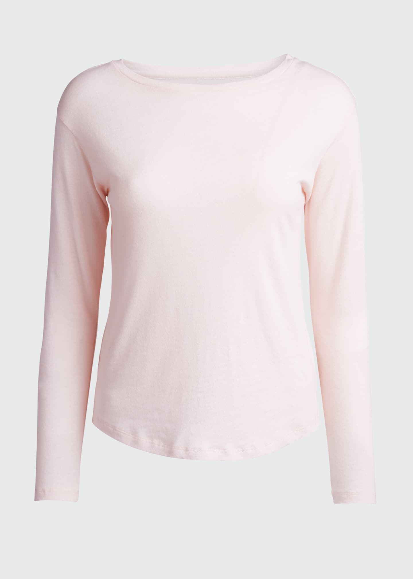 Image 5 of 5: Boat-Neck Long-Sleeve Cotton-Blend Top