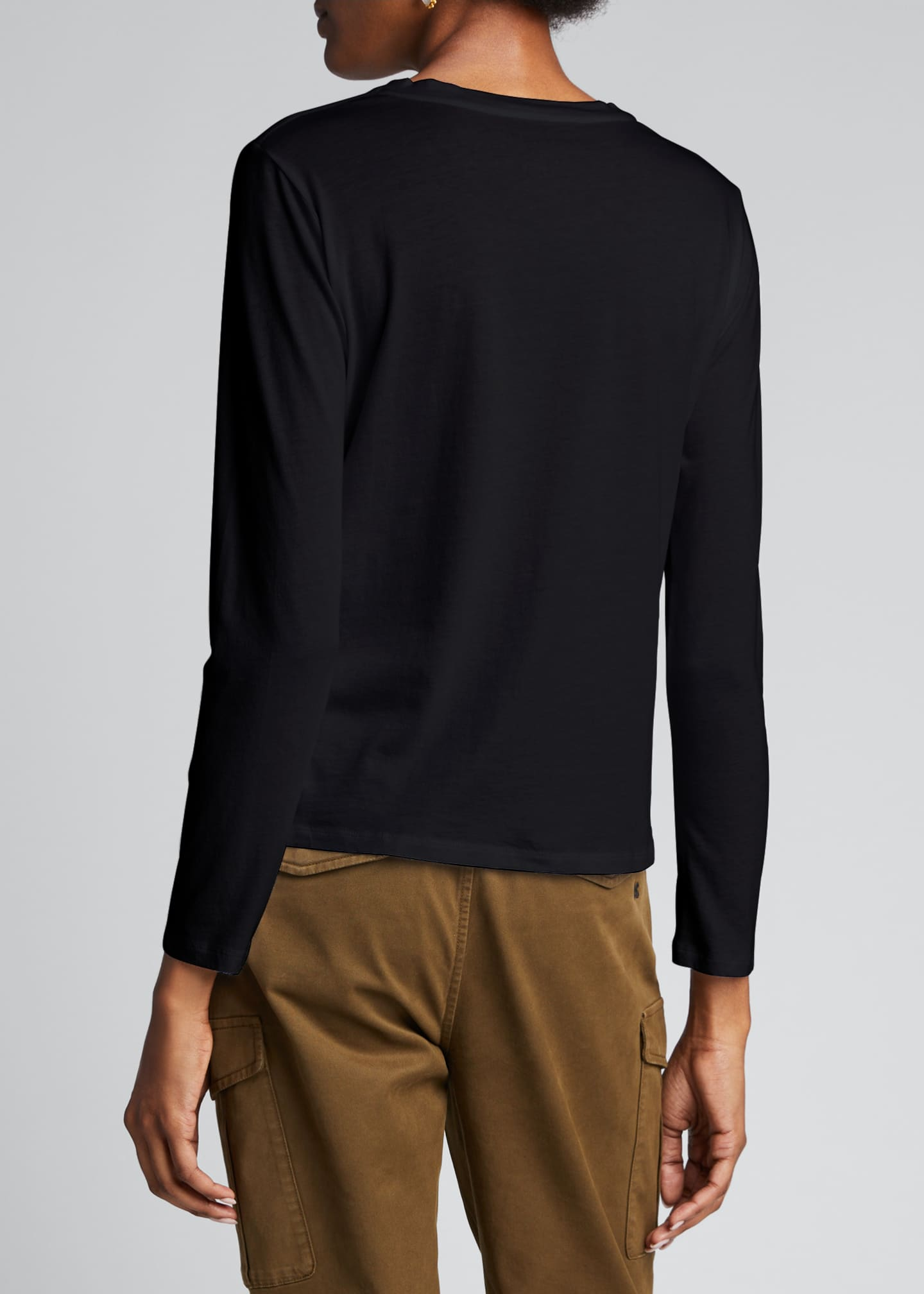Image 2 of 5: Crewneck Silk Touch Long-Sleeve Cotton T-Shirt