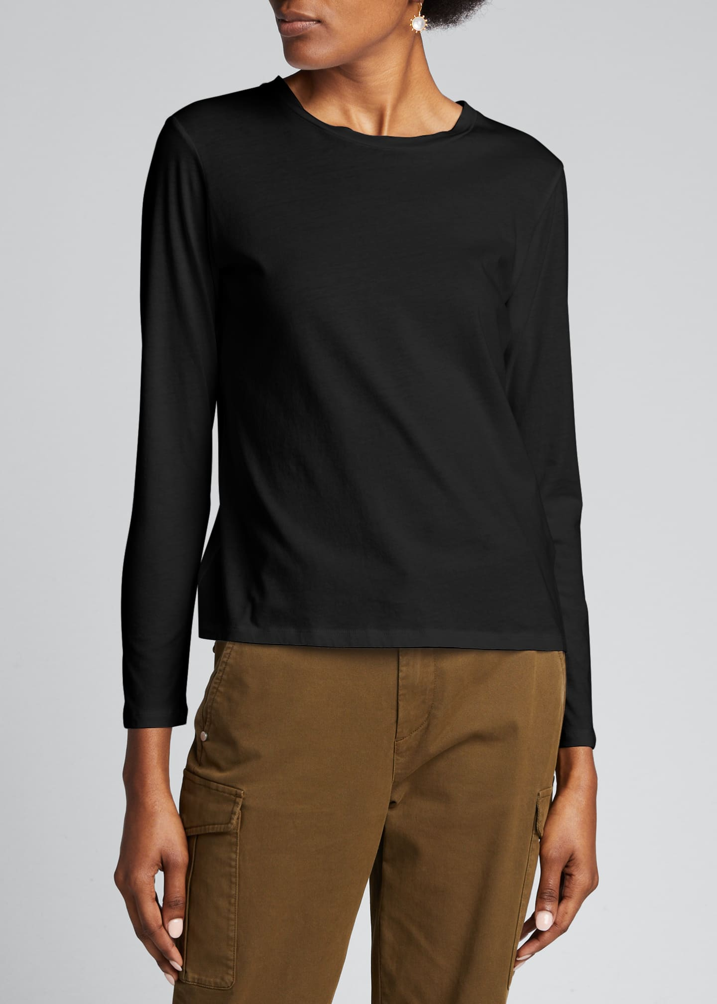 Image 3 of 5: Crewneck Silk Touch Long-Sleeve Cotton T-Shirt