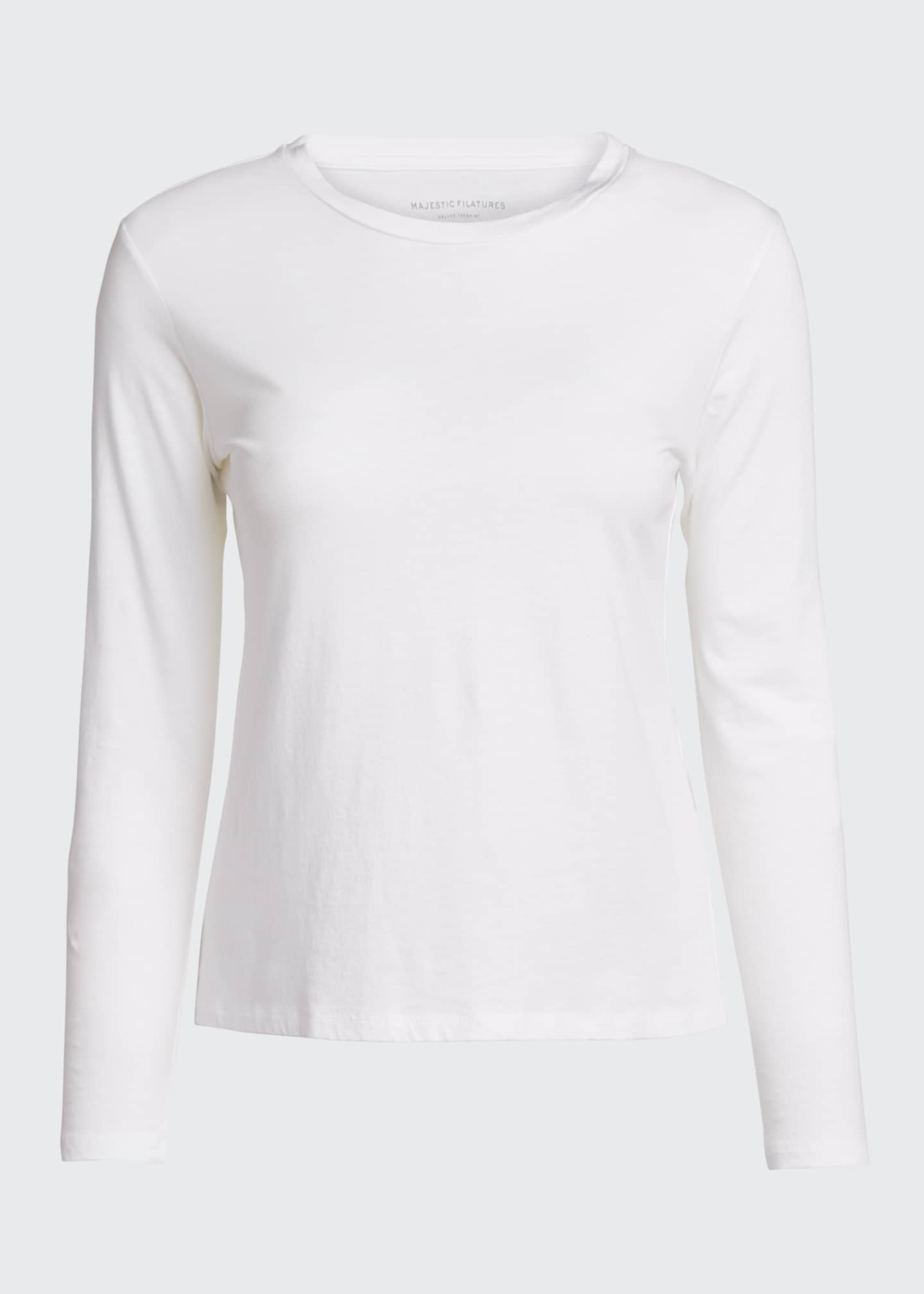 Image 5 of 5: Crewneck Silk Touch Long-Sleeve Cotton T-Shirt